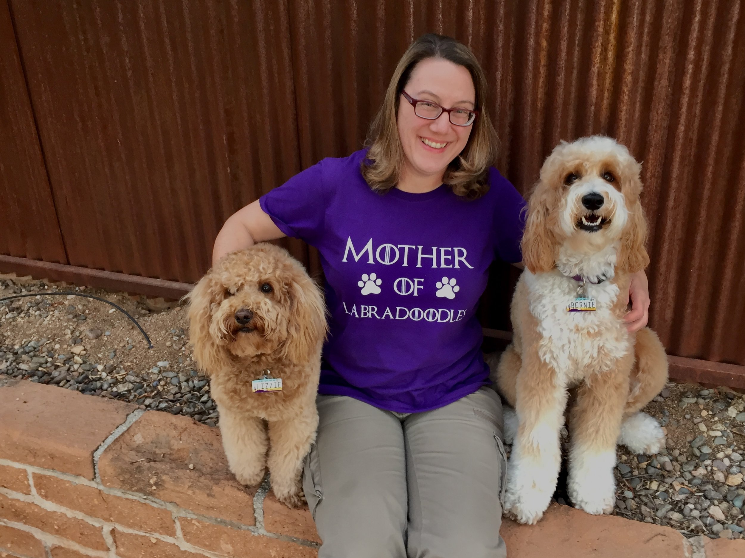 Lizzie and Bernie McSquare got me this Mother of Labradoodles purple t-shirt for Valentine's Day. Best Valentine I've ever received!