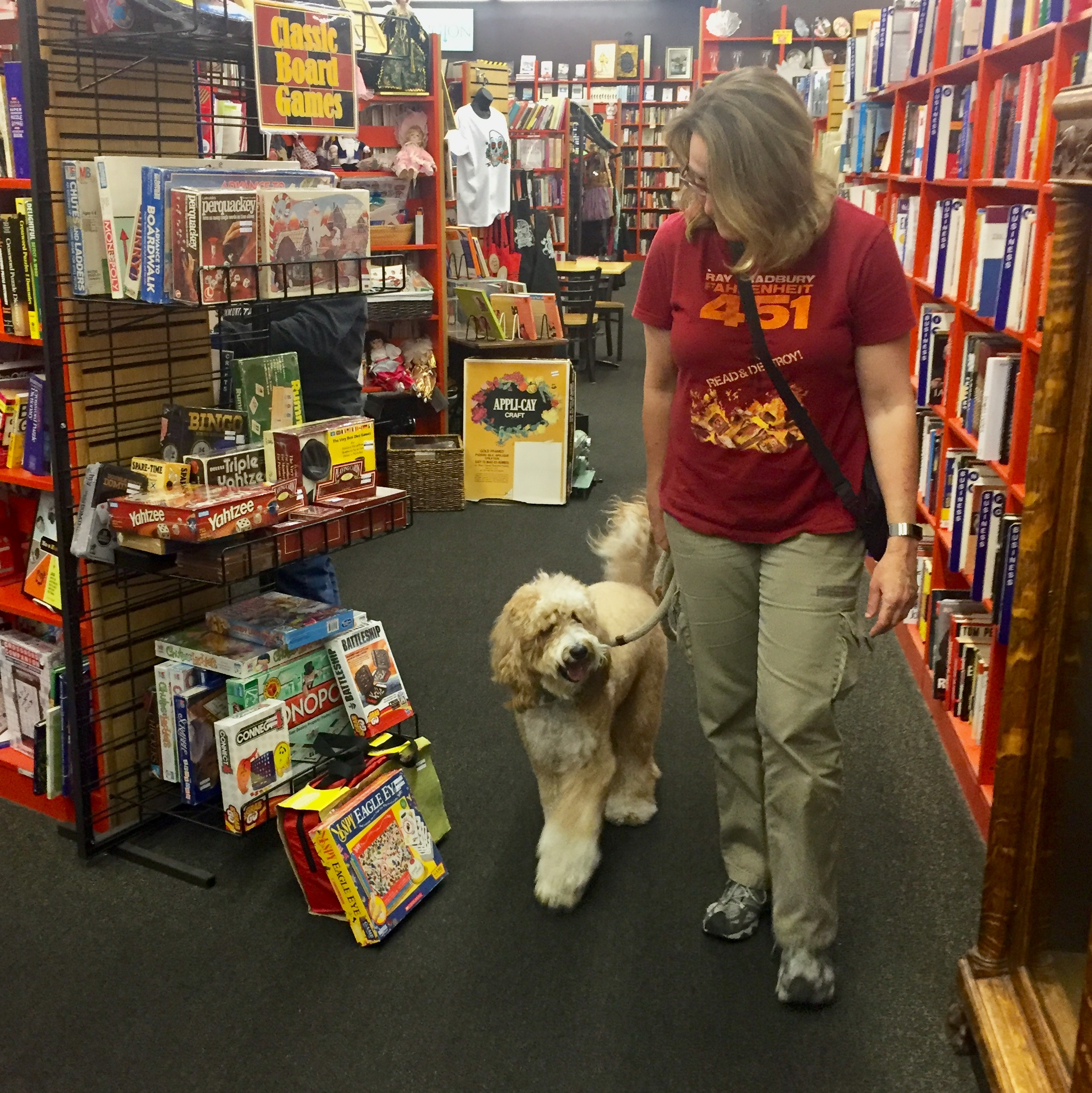 Once we were on the move, Bernie pays closer attention to me than all the old games and books at Bookmans Used Bookstore.