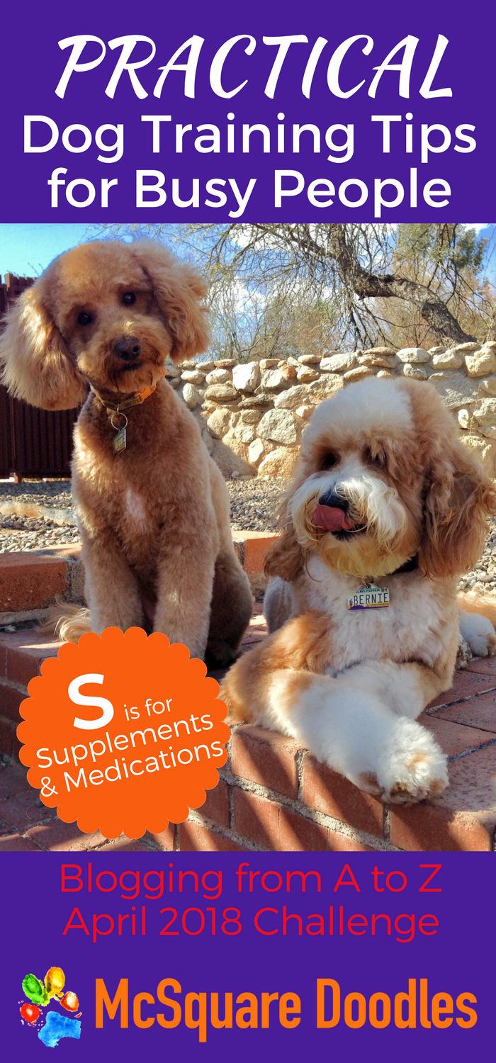 #AtoZChallenge - S is for Supplements and Medications - Practical Dog Training Tips for Busy People on McSquare Doodles