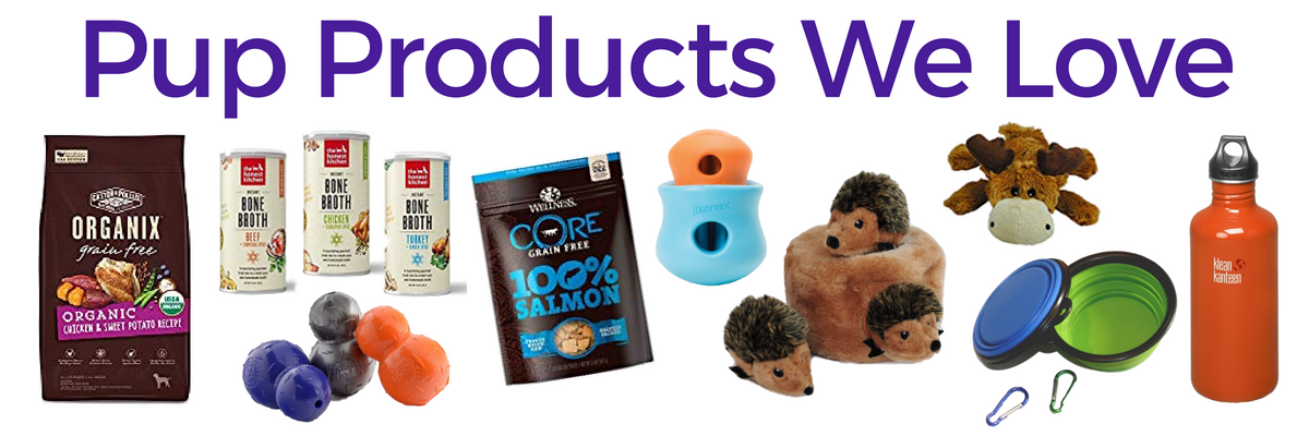 Visit our Resource page to find our favorite dog products like dog toys, kibble, dog treats, traveling gear, and more!