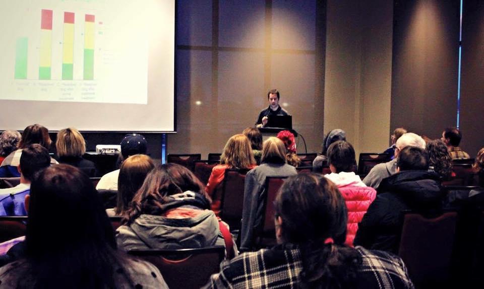 Tristan Flynn speaking at his Reactive Dog Seminar in PEI.