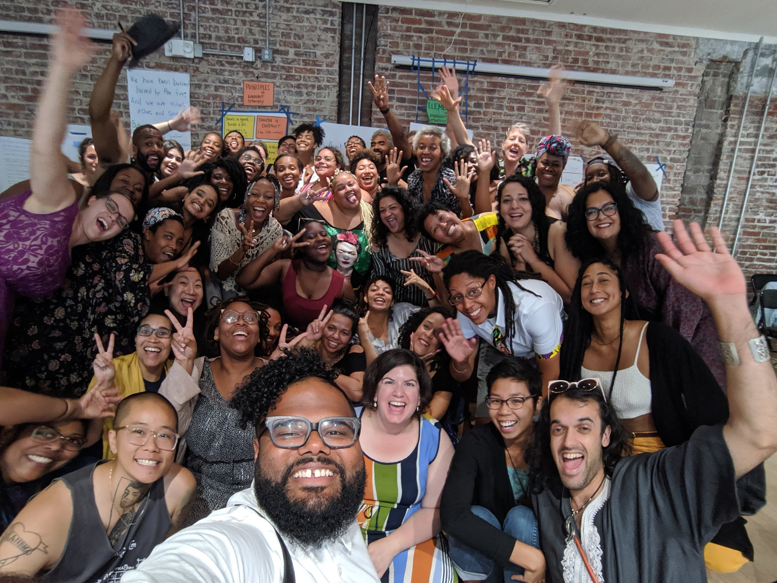 The amazing Lou (up front) took this selfie with the whole Emergent Strategy Ideation Institute DC crew at the end of our 4th day. By this point, I felt more fully myself! (Photo: Luis Alejandro Tapia)