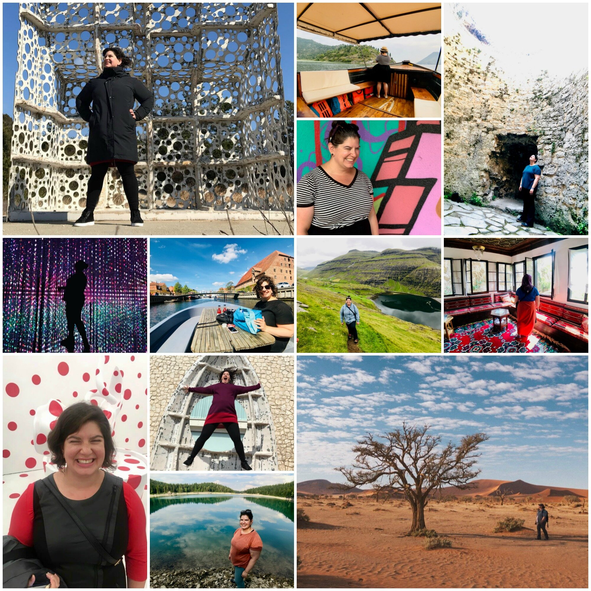 Alison brings her values of joy, curiosity, humanity, and rigor to her work and her life. She aims to learn about culture - by exploring nature, history, politics, community, art, and food -- wherever she goes. Here are some photos of her doing just that Top row, left to right: Naoshima, Japan; Lake Skadar, Montenegro; Mostar, Bosnia-Herzegovina; Travnik, Bosnia-Herzegovina. Middle row, left to right: Tokyo, Japan; Copenhagen, Denmark; Faroe Islands; Blagaj, Bosnia-Herzegovina. Bottom row, left to right: New York, NY; Naoshima, Japan (top); Žabljak, Bosnia-Herzegovina; Sesriem, Namibia.    Thank you to    Alice Chen   ,    Nancy La Lanne   , and    Luan Torreira    for taking many of these photos.