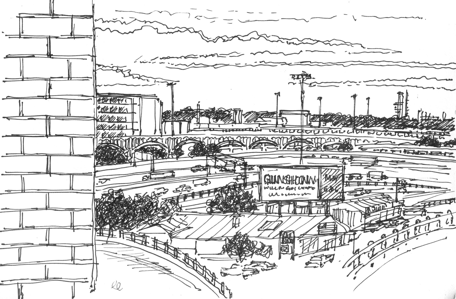 View from the Jury Waiting Area – Dallas, TX. Ink sketch by Gary Perrone.