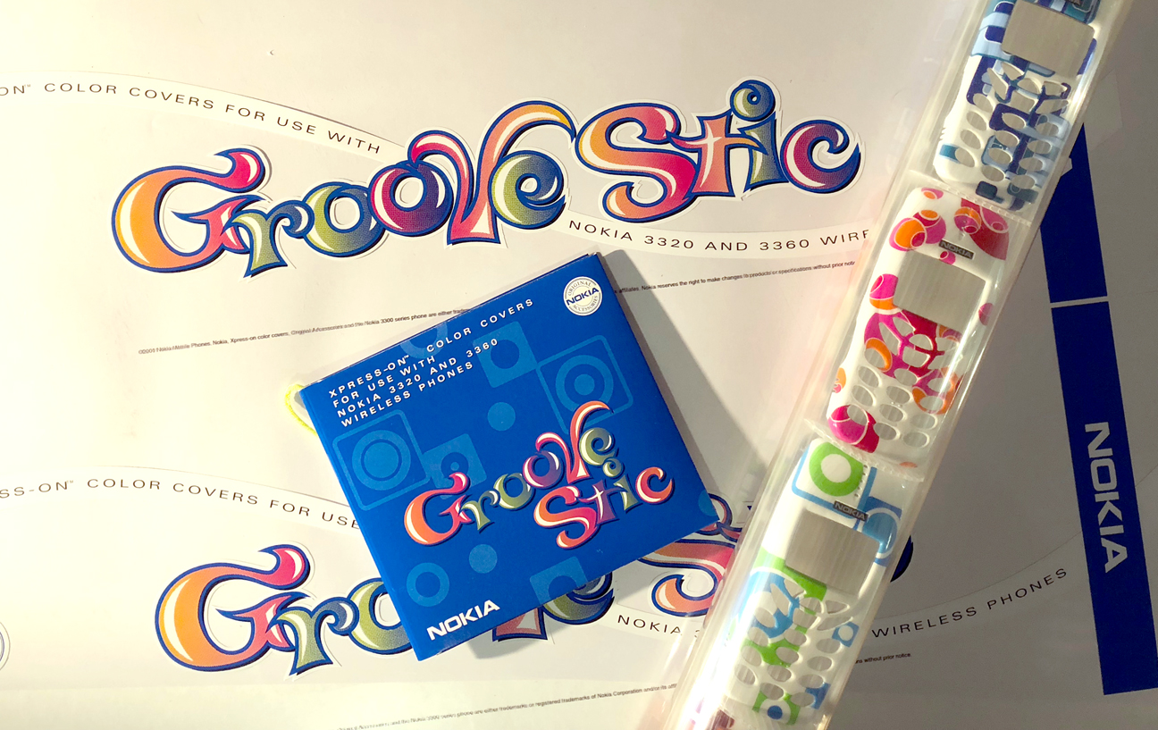 Groove Stic is a promotional item that held five snap-on covers for what was once a hot mobile device. I designed a fab type treatment on a clear label that slid into the cylinder. I also designed the CD packaging.