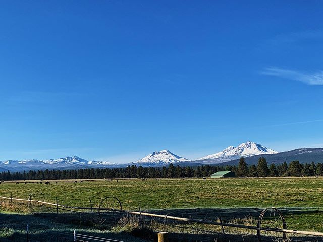 Chilly blue skies this morning displayed the glorious beauty of freshly blanketed peaks. Woke up to 23degrees here in Sisters and think I'm finally turning the corner and am eager for the snow to come. #lovewhereyoulive #cascades #threesisters #oregon