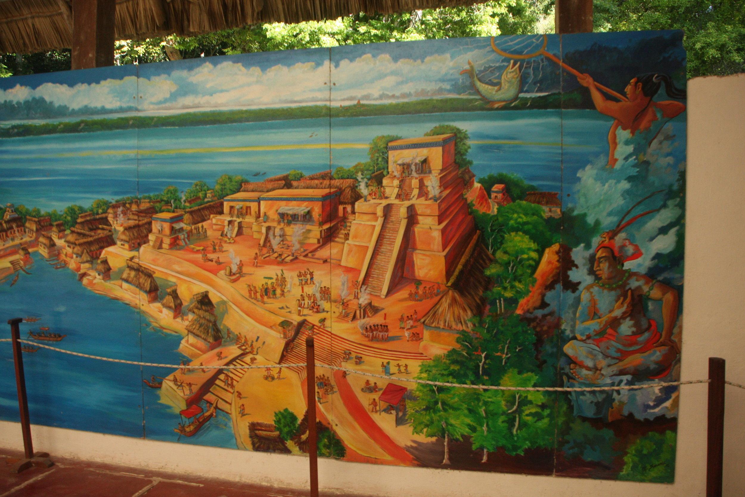 Artistic rendition of Topoxte civilization in its grandeur.
