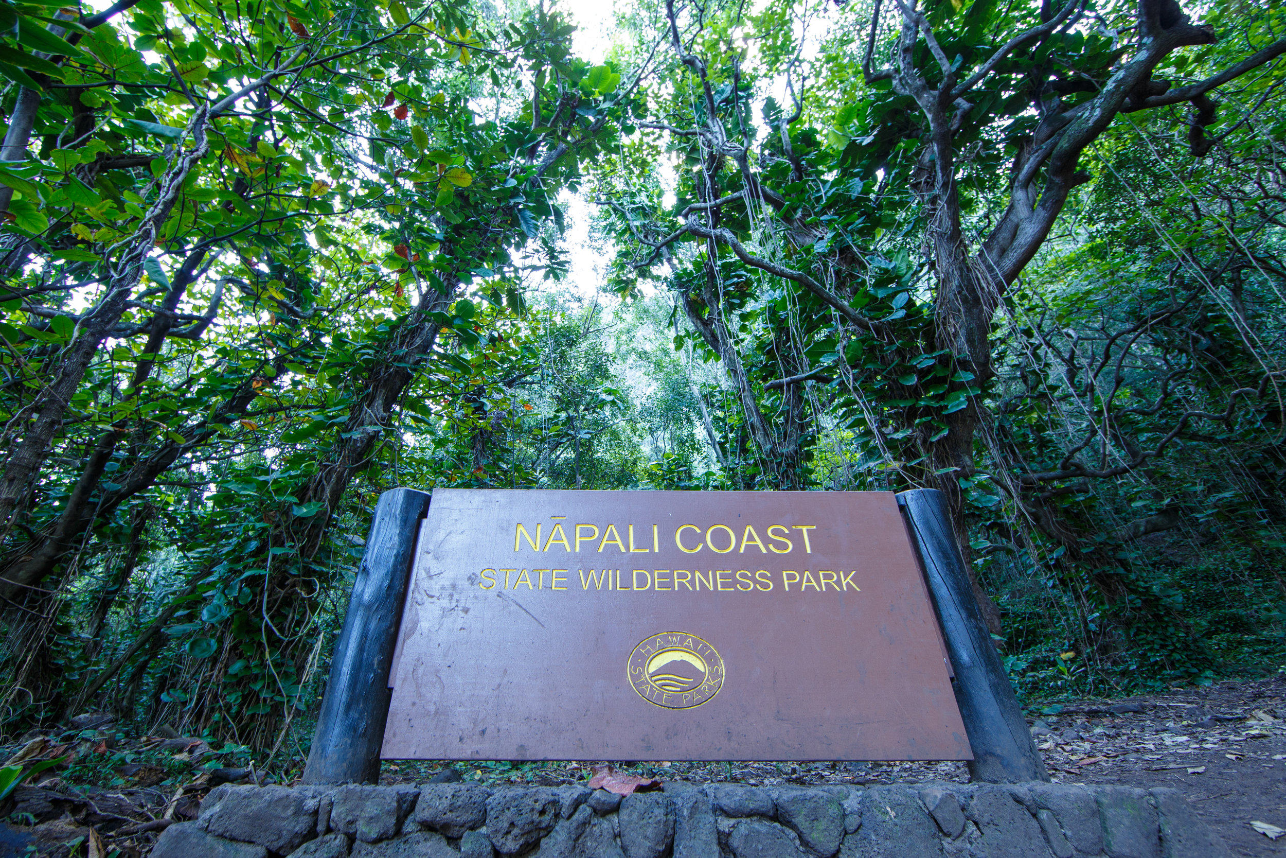 Trailhead to the Na'Pali Coast and the start of the adventure.