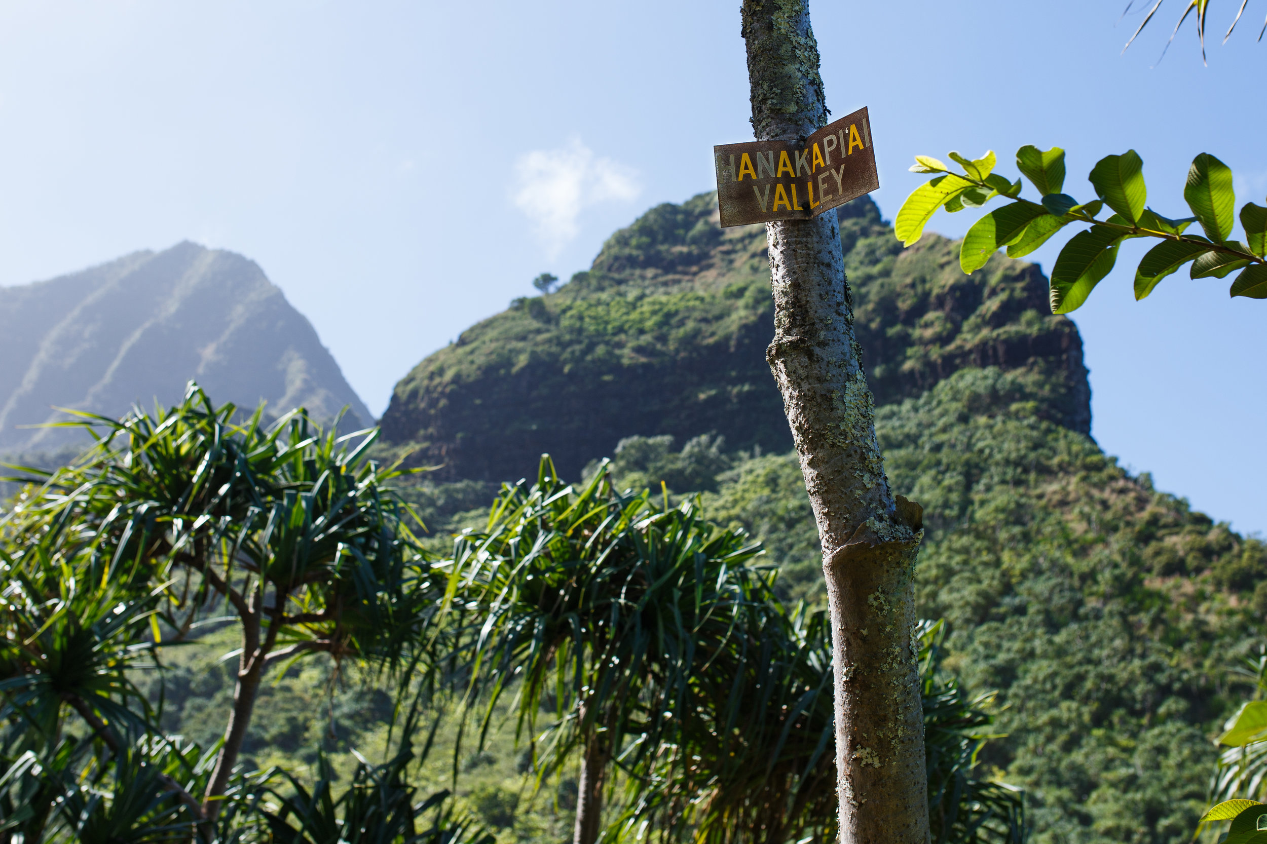2 miles into the Kalalau Trail, you'll be welcomed by this sign to the entrance of Hanakapi'ai Valley.
