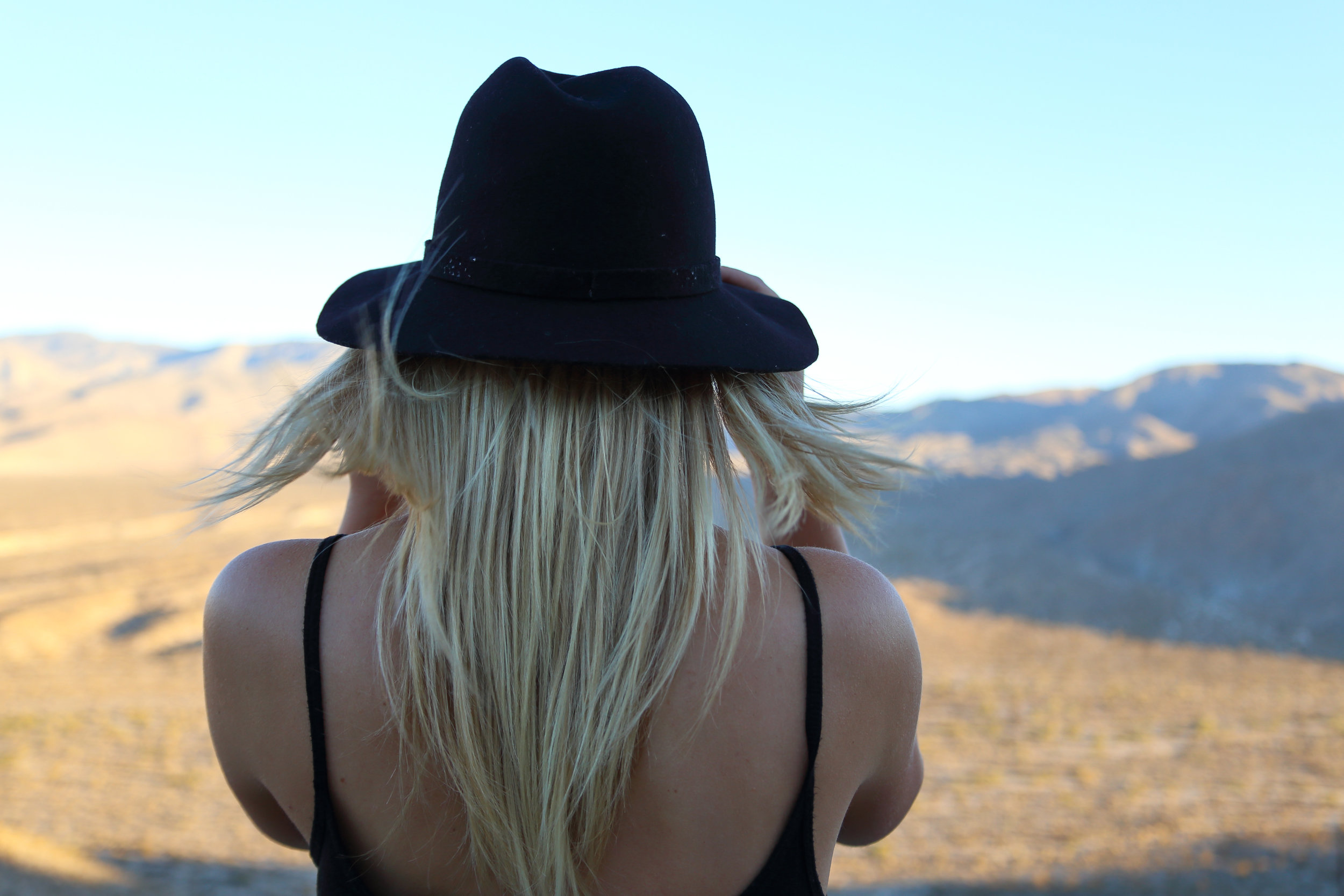 Admiring the desert vista.