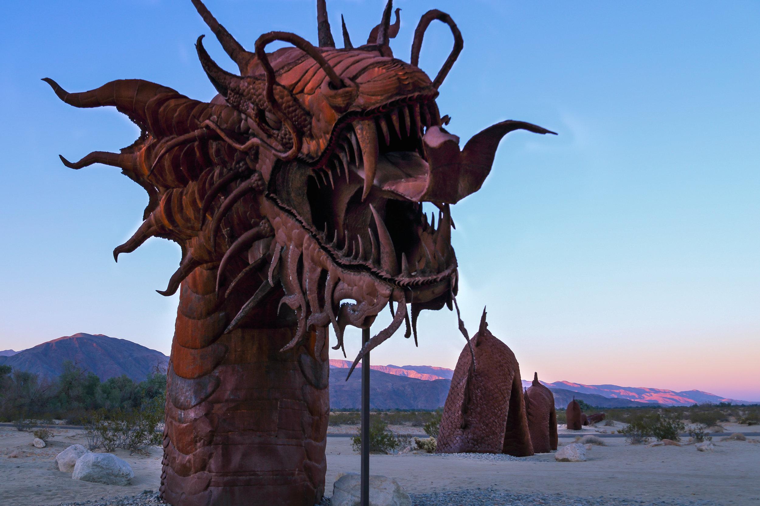 A metal dragon-headed serpent sculpture encountered in Borrego Springs. Art by Ricardo Breceda.