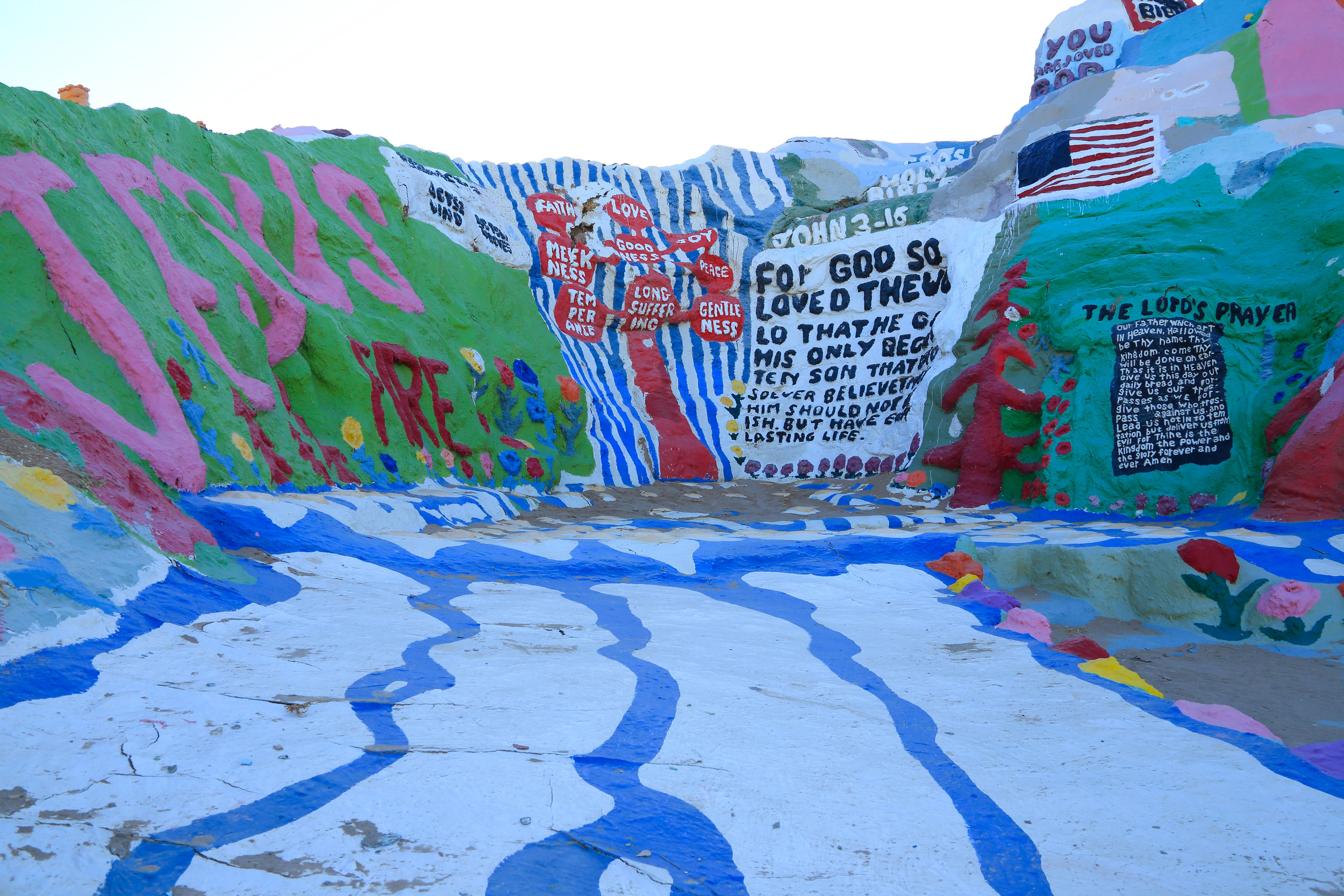 Walking the roads into Salvation Mountain.