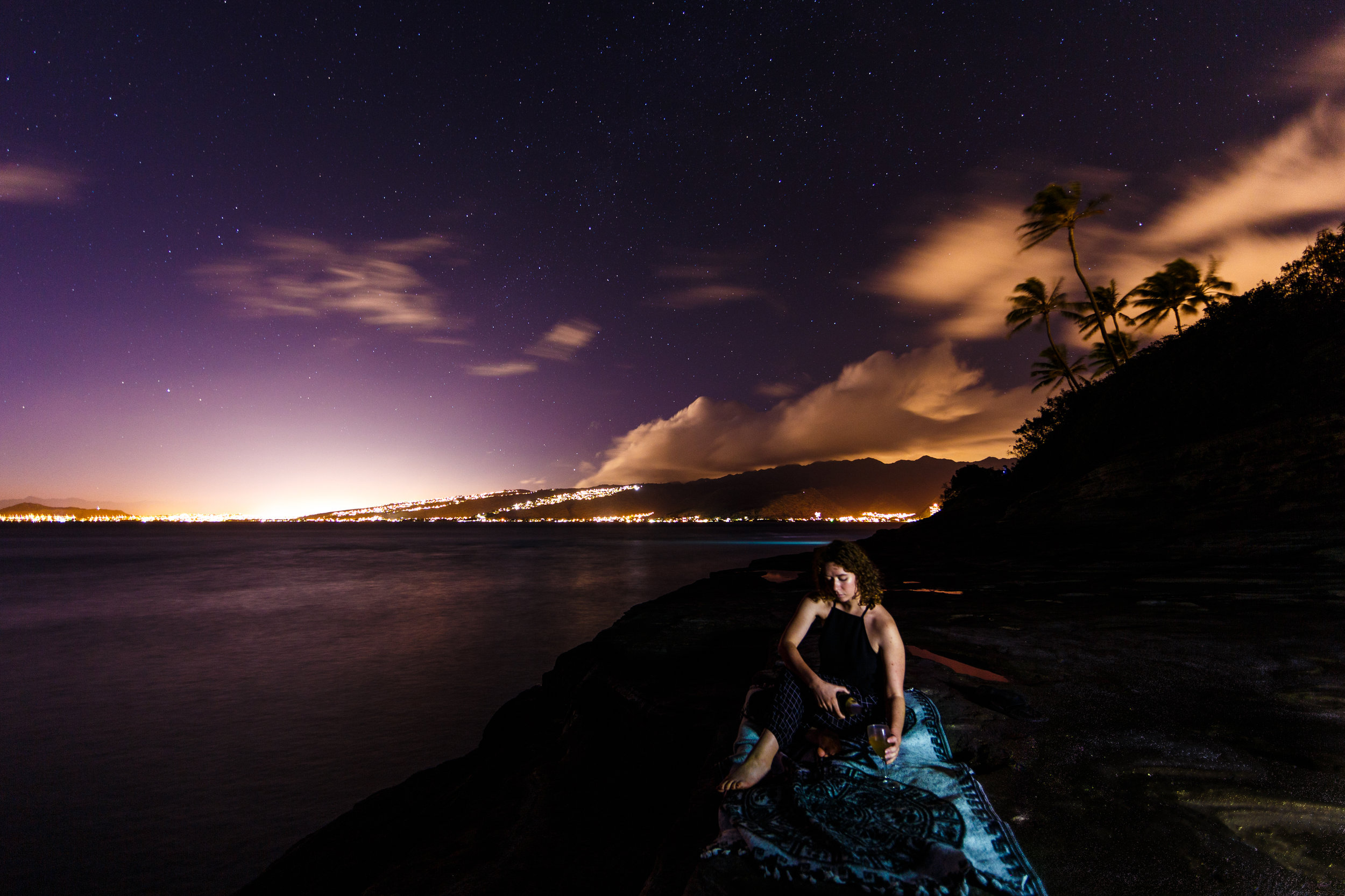 Shot at 14mm f/2.8 ISO 320 for 20 seconds. Subject lit with a LED headlamp.