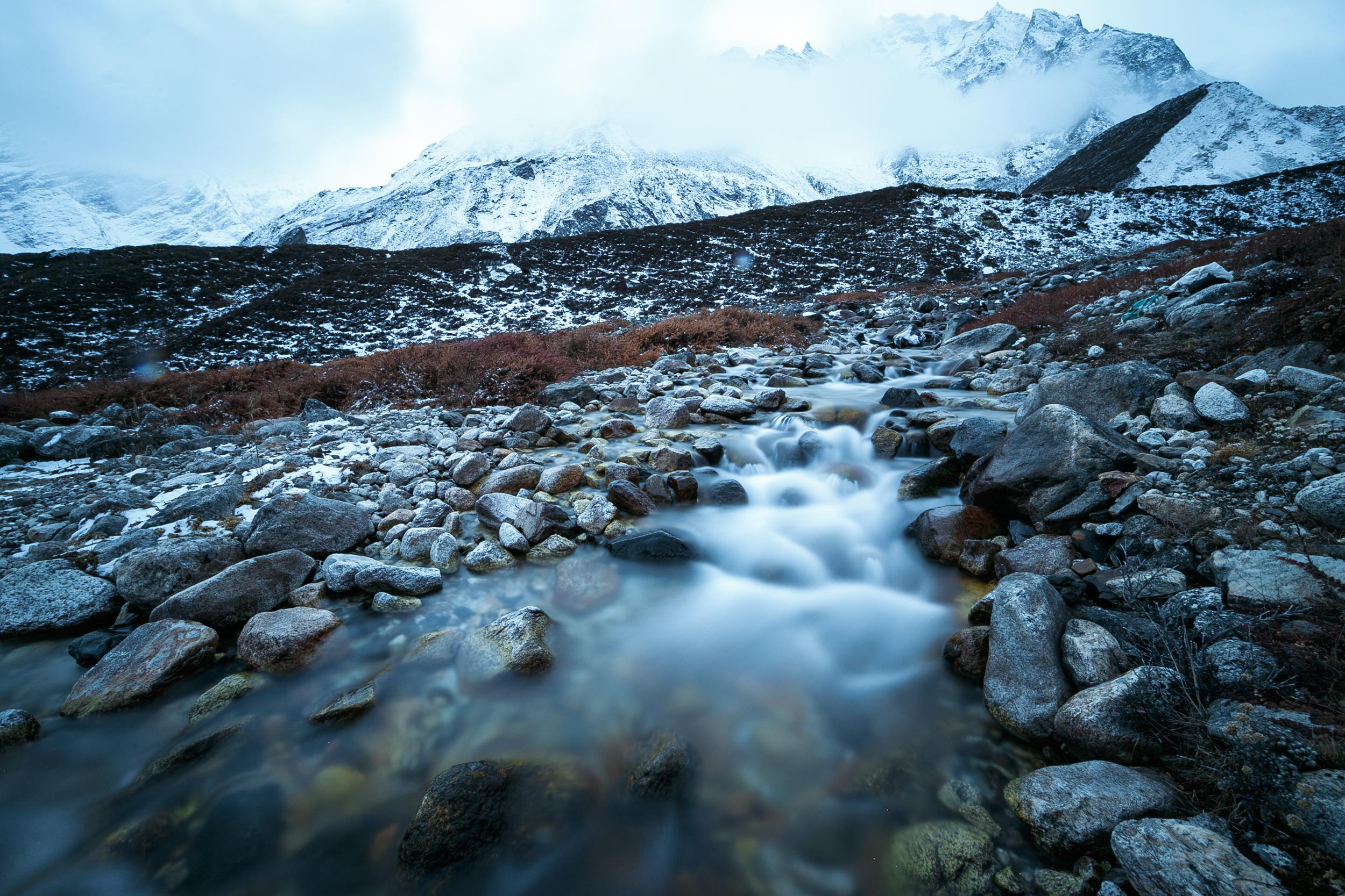 Frozen river at Dharamsala.