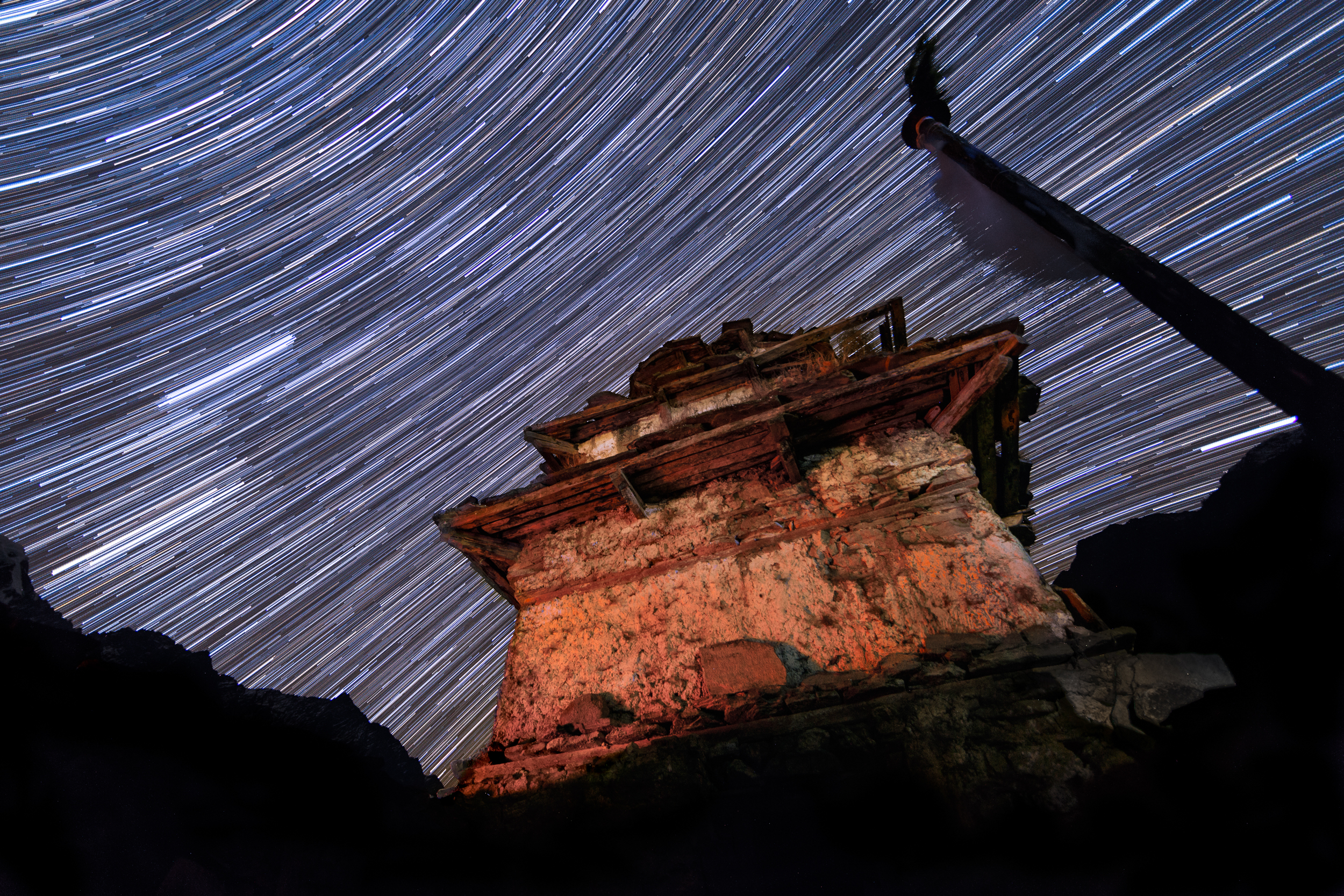 Star trails above a Buddhist stupa on a chilly night in Prok.