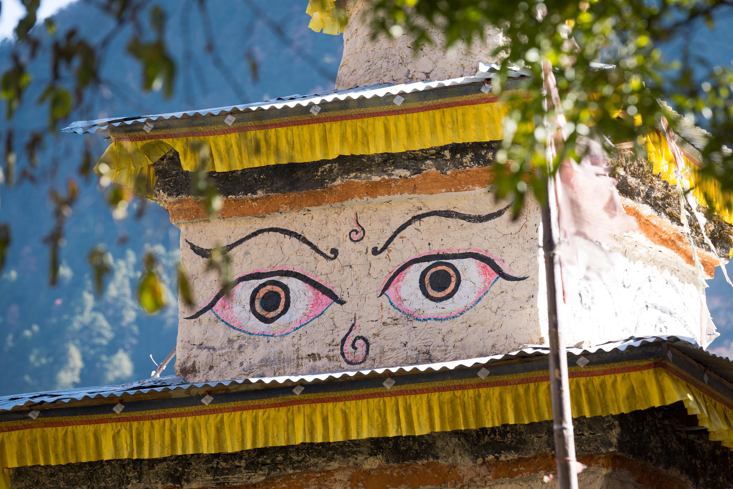 The ever-present eyes of Buddha on stupas overhead.