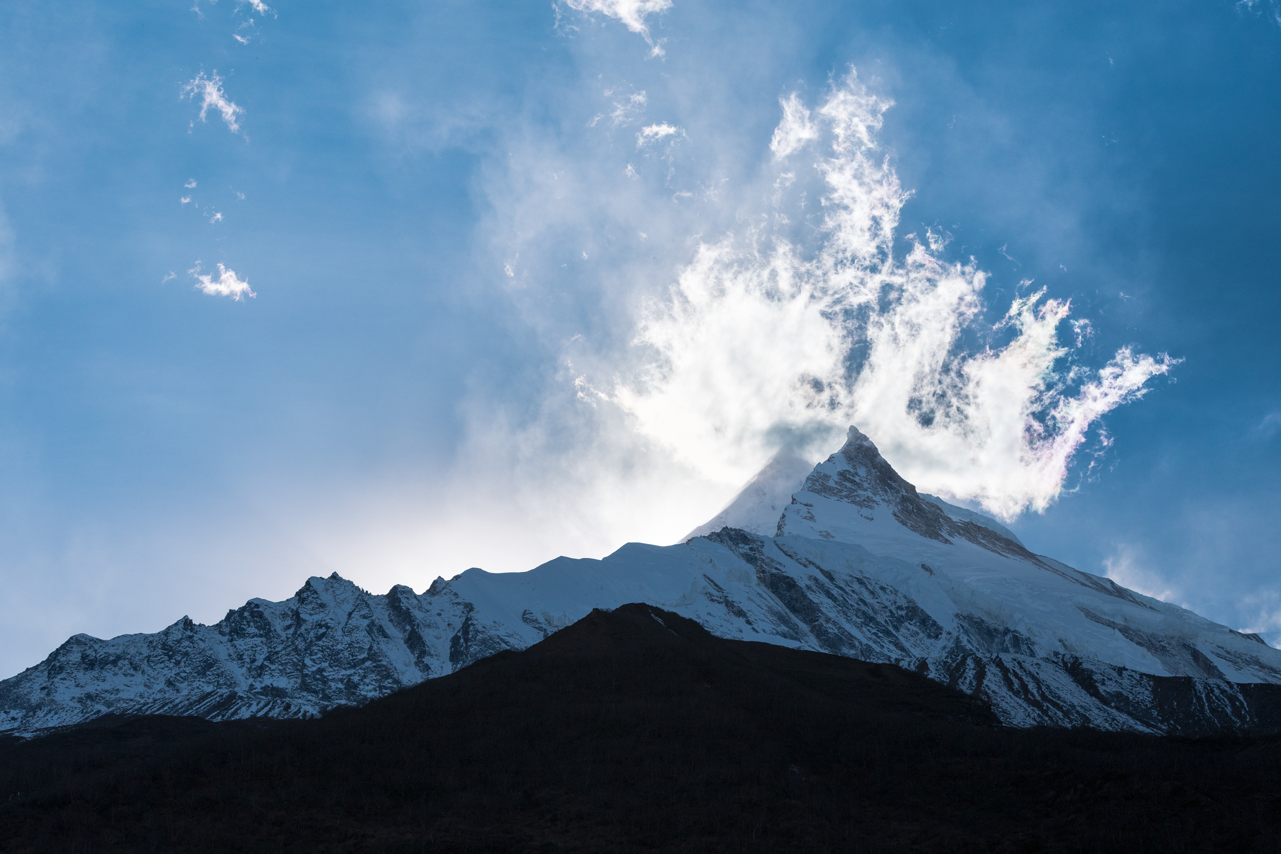 Seated just below Mt. Manaslu.