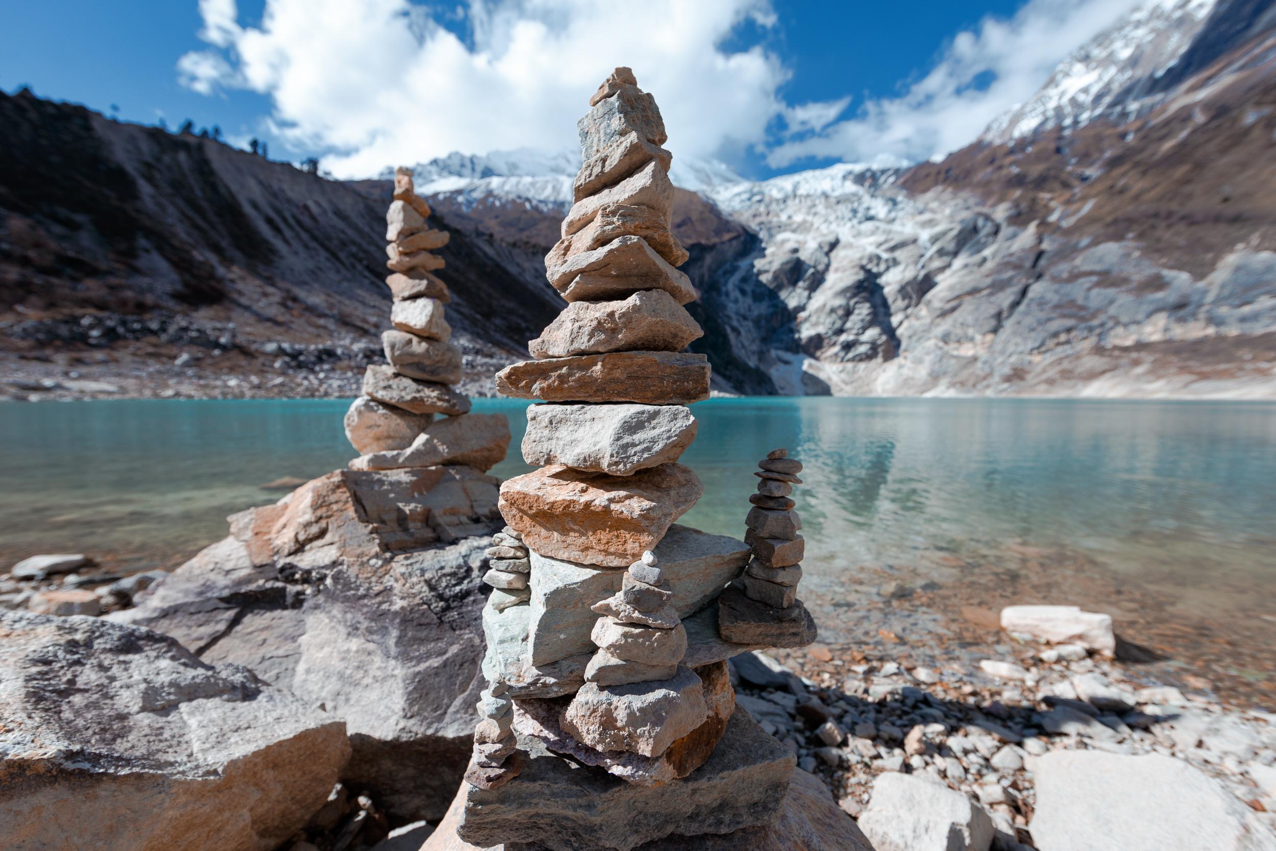 Rock piles at Birendra Tal.
