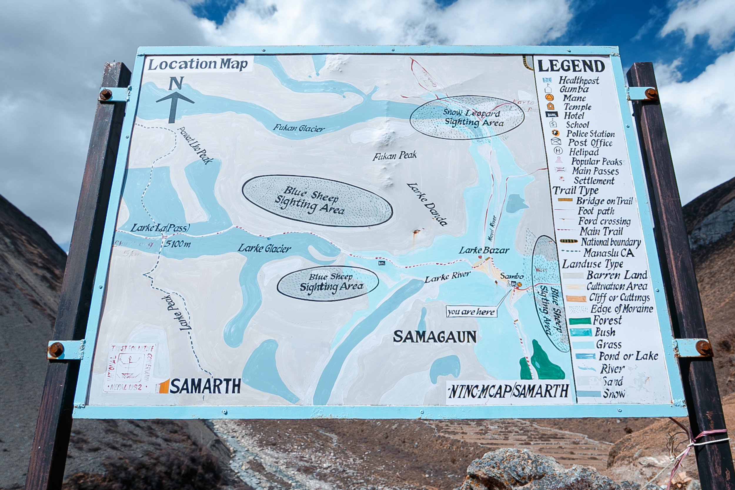A map for the way from Samdo to Larky-La pass.