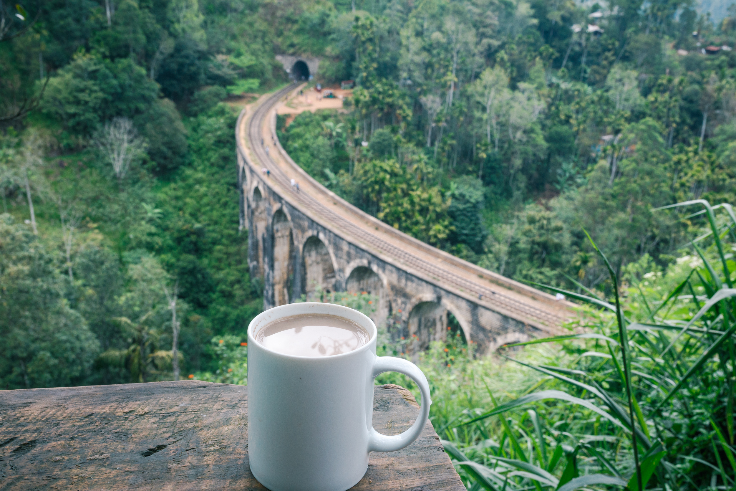 Enjoying a cup of joe over the tracks at the Nine Arch Bridge.