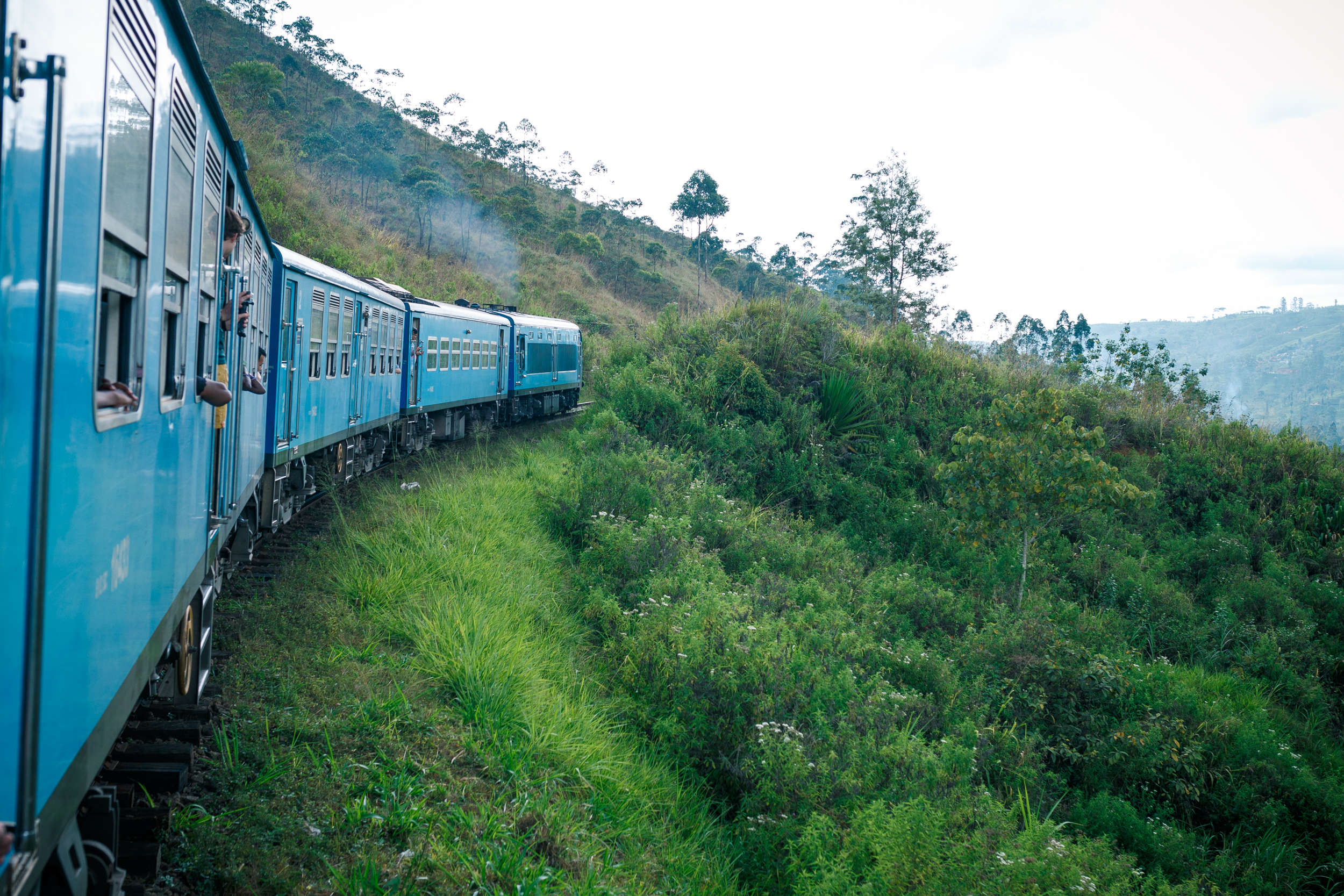 The train through the lush tea plantations en route to Ella.