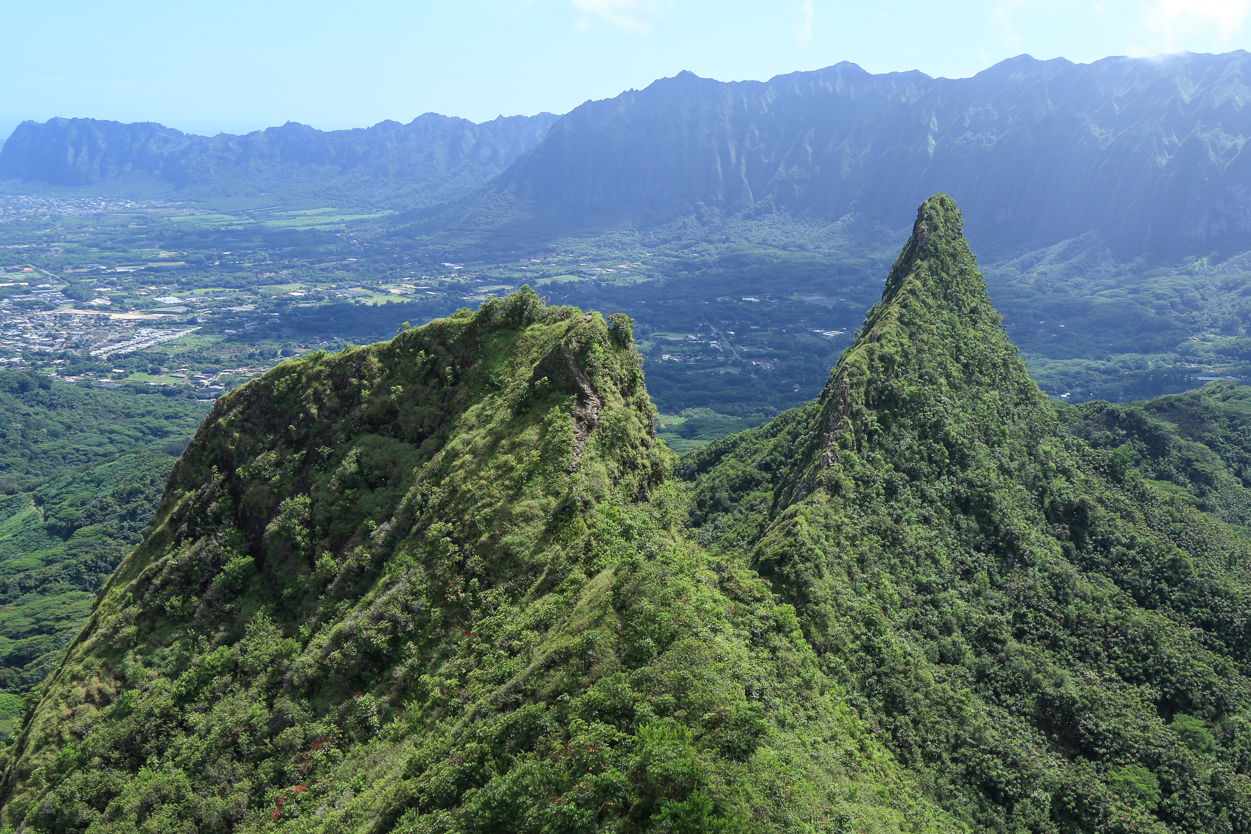View from the first peak looking out on the second and third peaks with the Ko'olau Mountains in the background.