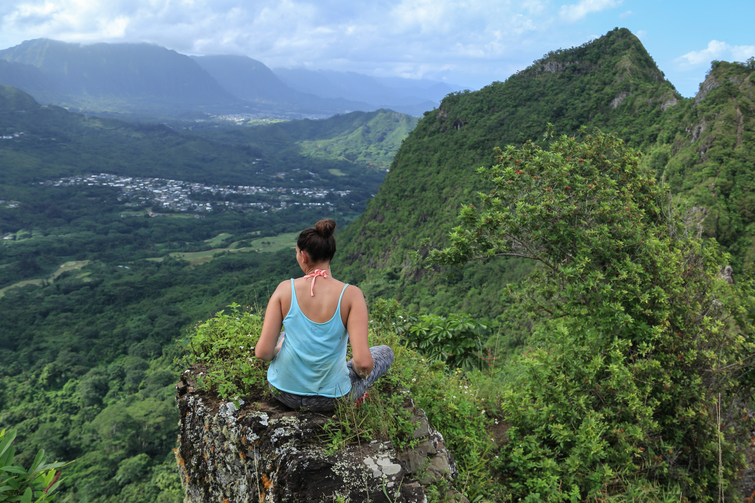 Halfway up the third peak looking out at Kailua, the first two peaks, and the Ko'olau mountains.