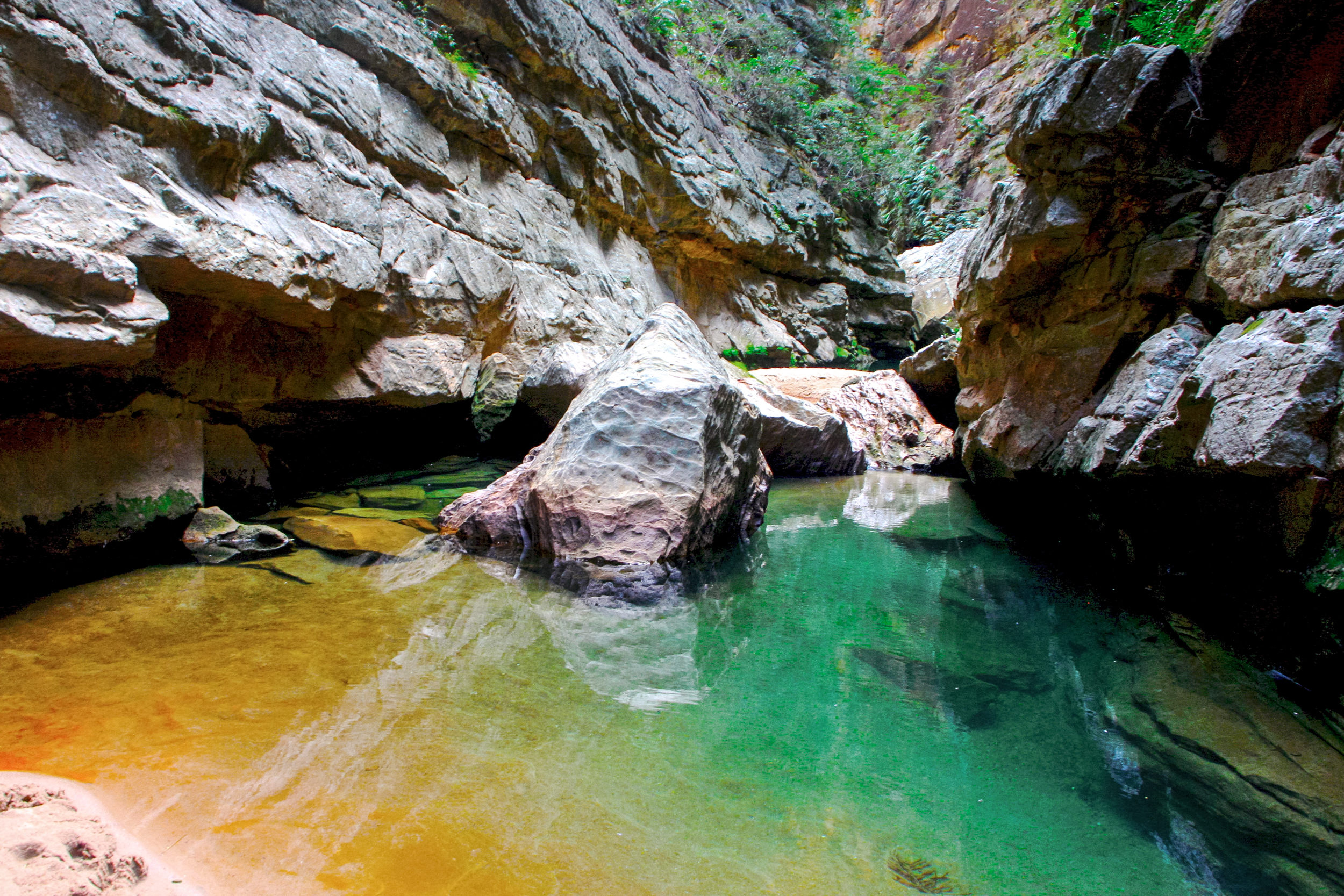 Entering Isalo, there are insanely colored pools hidden between the narrow canyon walls.