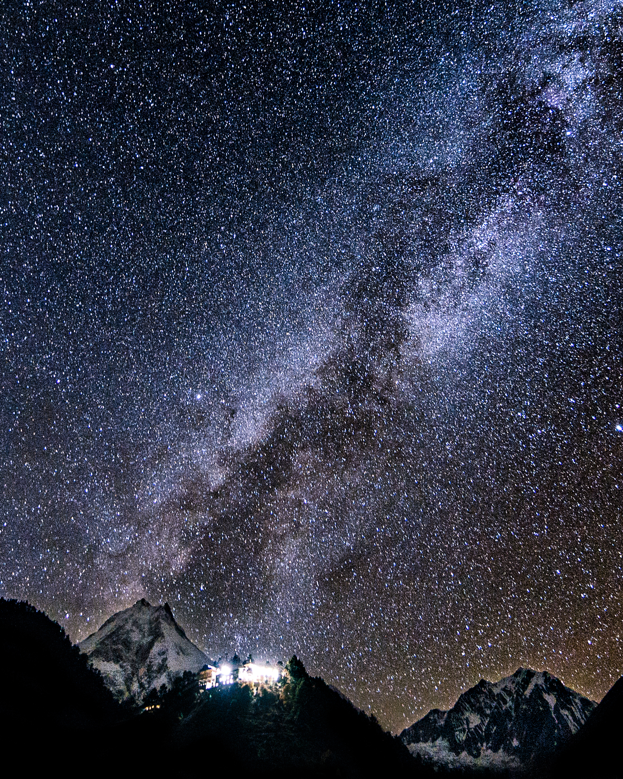 The Milky Way splashed above the eighth tallest mountain on the planet: Mount Manaslu (8,106 m).
