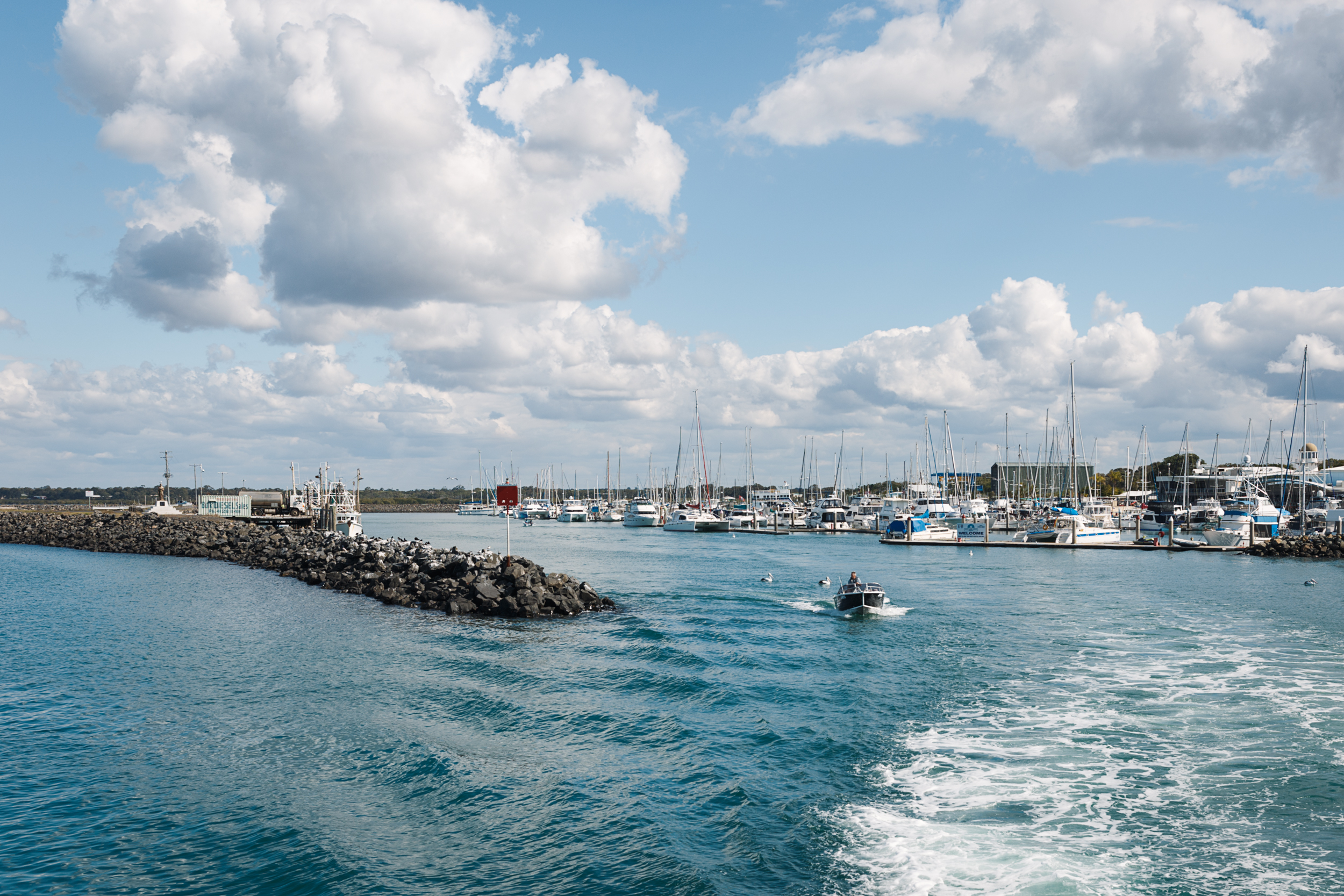 The boat harbor of Hervey Bay.