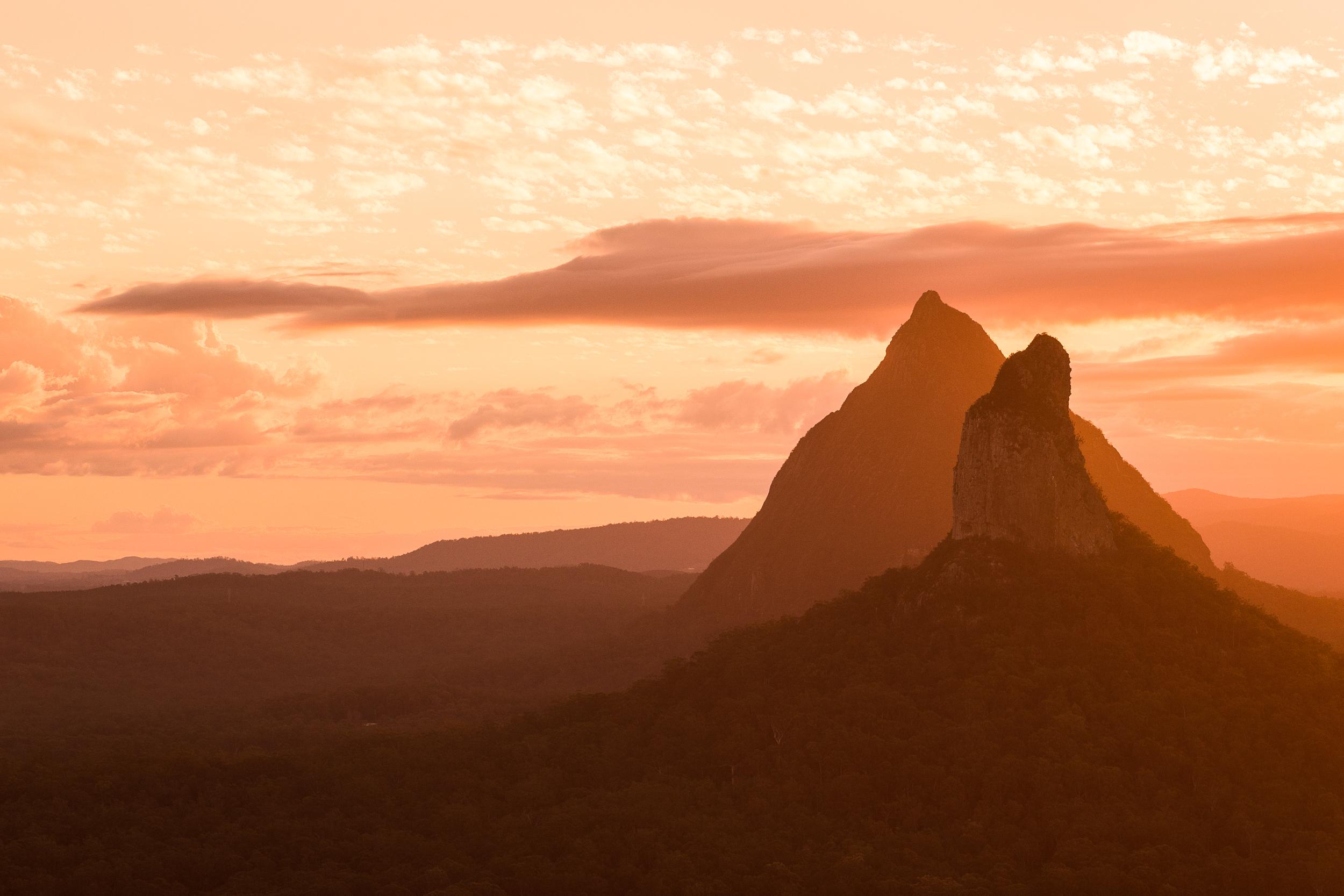 Sunset summit view from Mount Ngungun.