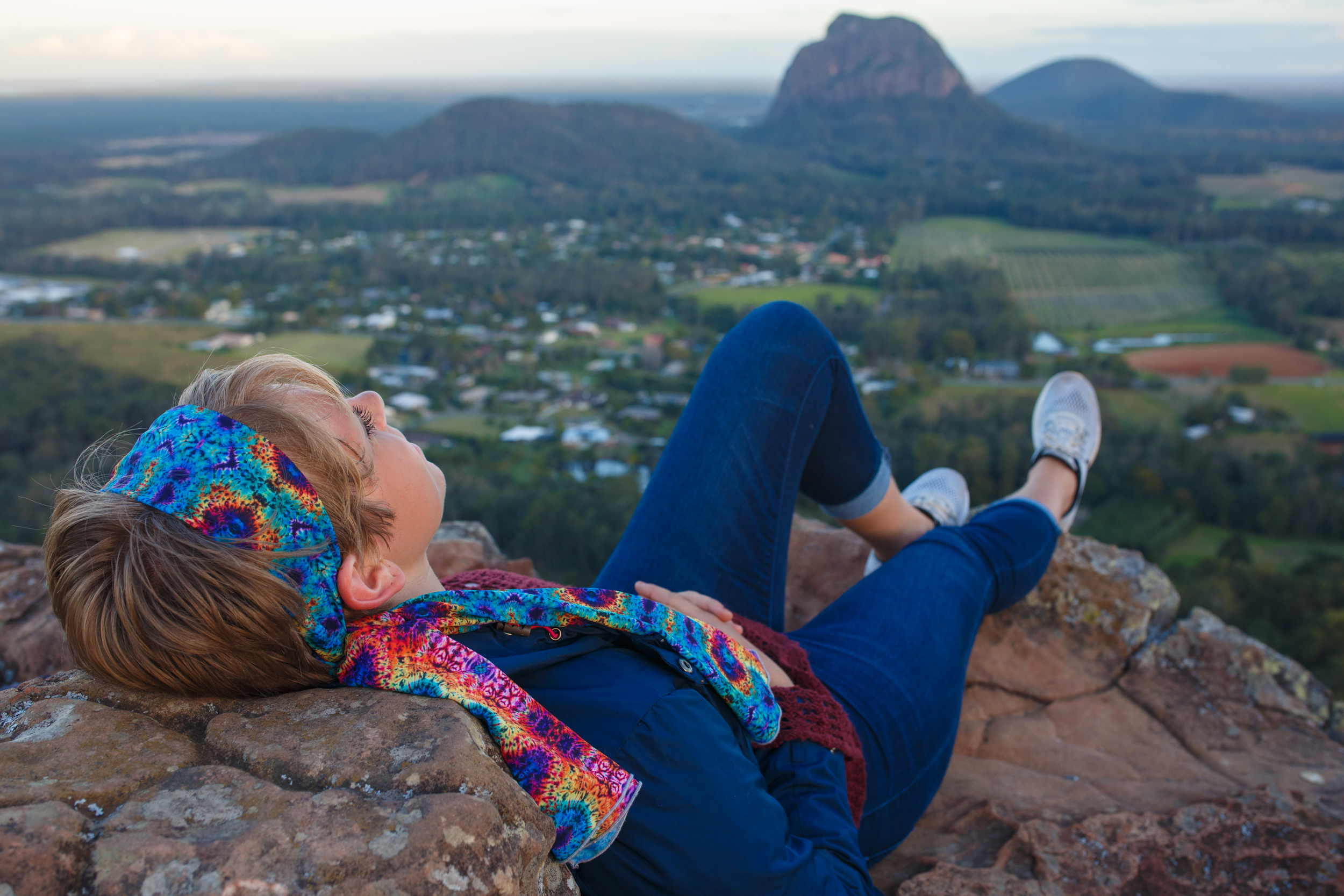 Relaxing on the summit of Mount Ngungun.