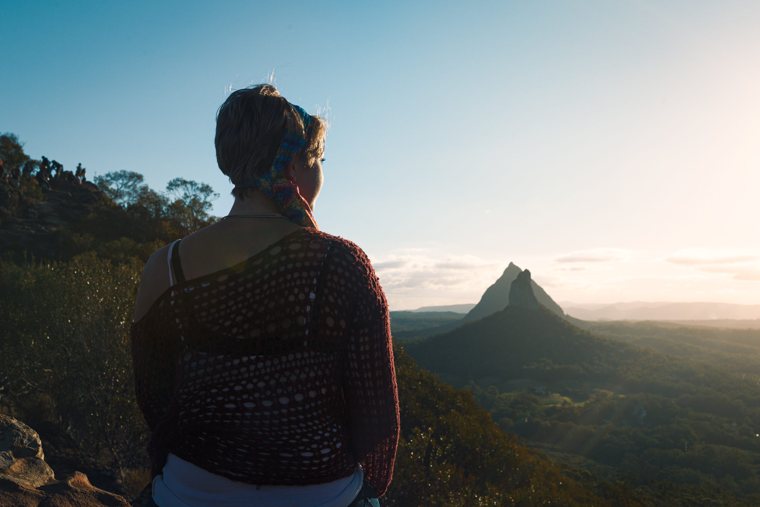 From the summit of Mount Ngungun, overlooking Mount Coonowrin and Mount Beerwah in the distance.
