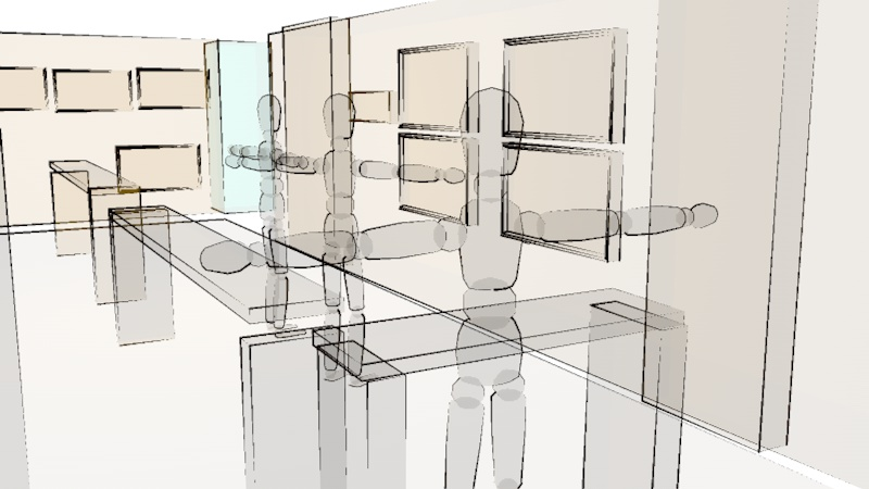 Once the location was picked, we did a round of crude renderings to get a feel for the space from different angles.