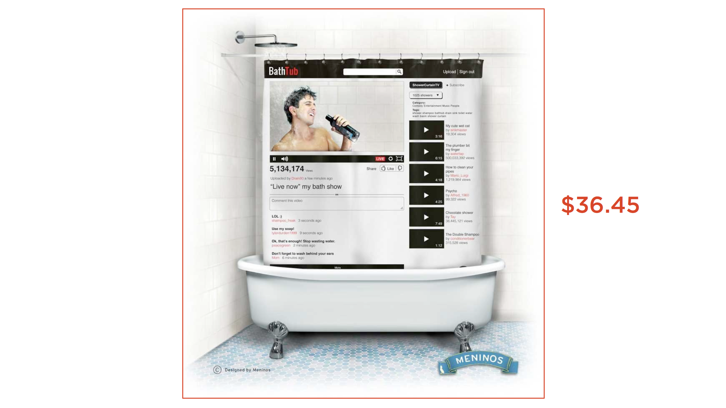 A YouTube shower curtain: it makes my heart sing.