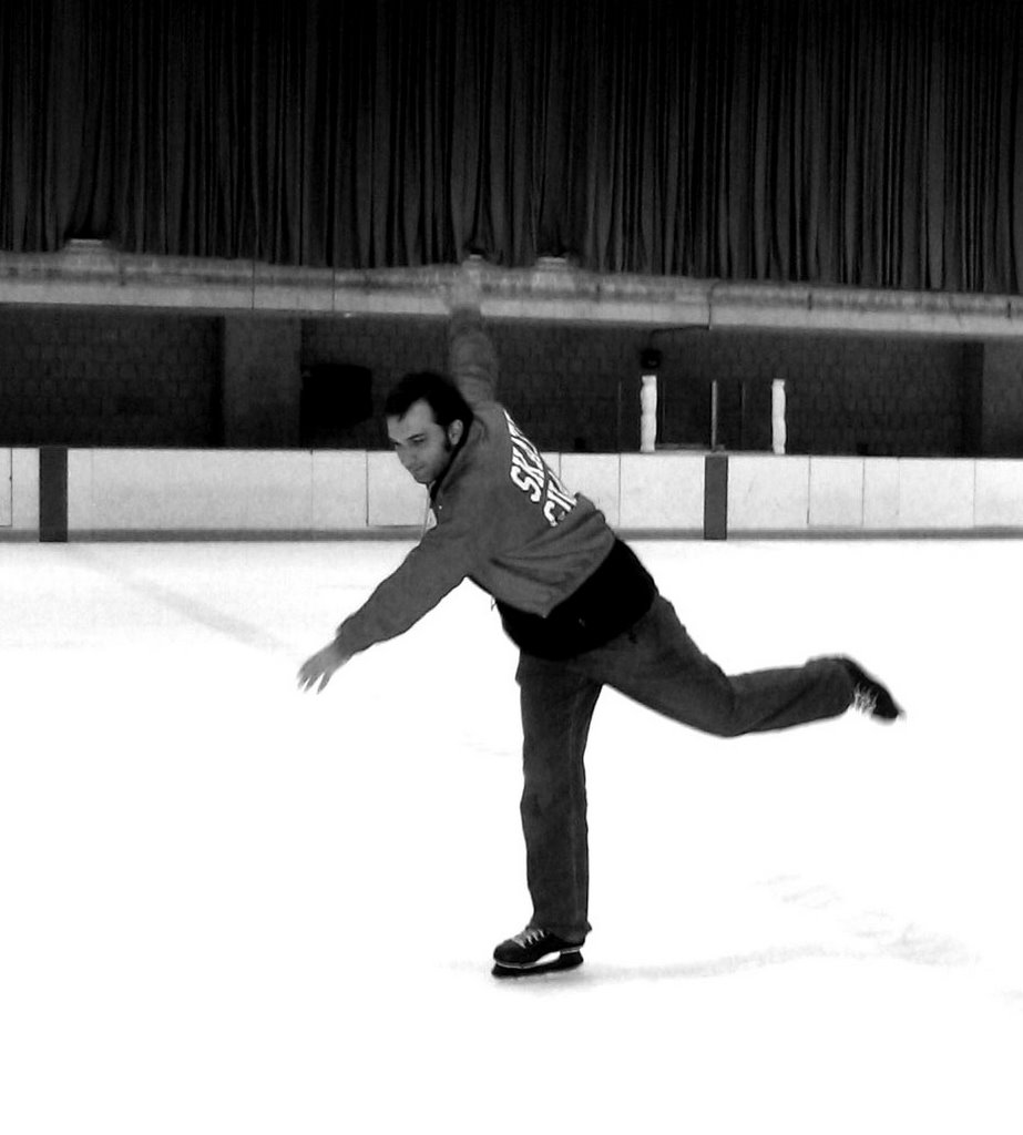 Your author, skating away from the puck.