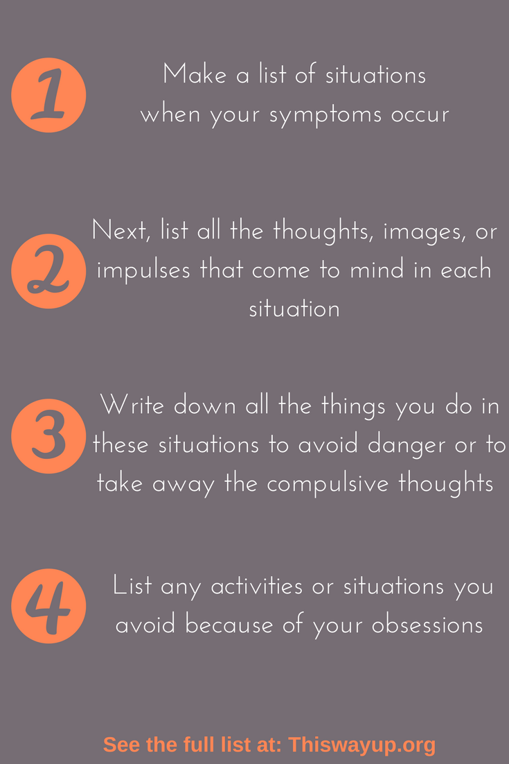 After you've created your list: - 5. Go through your list and rate how anxious you think you would be if you tried to resist your compulsions in the different situations. Rate your anxiety on a scale of 0-10, 10 being severely anxious.6. Choose one thing on the list that you think you could resist with only mild to moderate anxiety. Next time you are in that situation, try as hard as you can to resist that compulsion without giving in. Pay attention to how anxious you feel at the start, and to the way this anxiety fades over time.7. Repeat this same activity, resisting the compulsion, every time you are in that situation (at least once every day). You should notice that, with practice, it gets easier and easier to resist, because your anxiety is fading.8. Once you become more comfortable with this compulsion, choose another, slightly harder compulsion and repeat step 7. Continue until you've worked though all compulsions on your list.9. When you have OCD, the doubts get stronger the more you give in to them, and weaker the more you resist them, so keep resisting and keep coping!If you have OCD and are looking for treatment options, please consider a clinical trial with us. To learn more please call us at 310-208-7144!