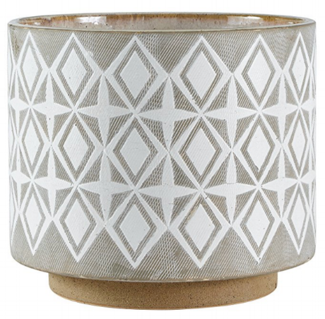 "Geometric Ceramic Planter by Rivet | 8.7"" h x 10.25"" dia"
