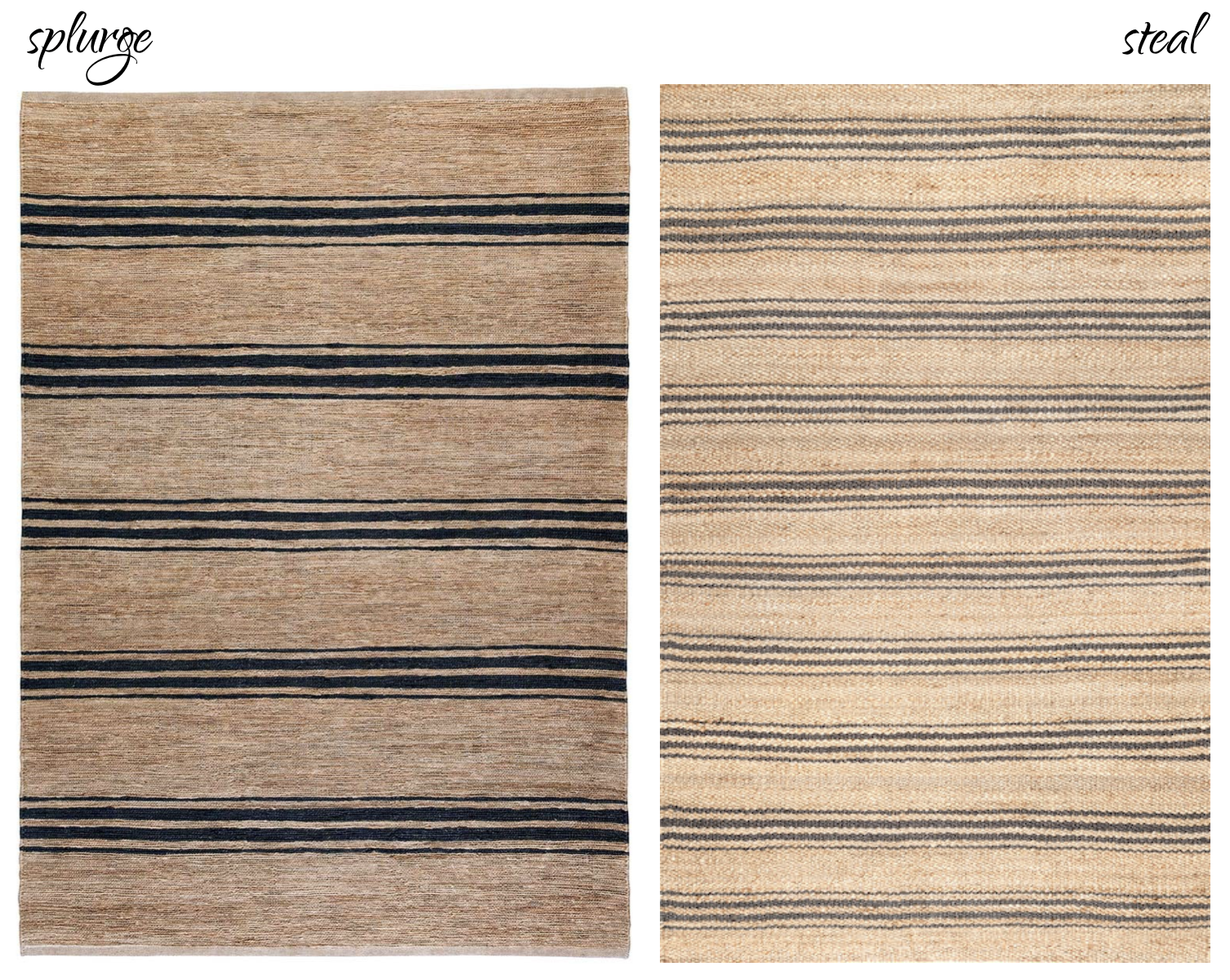 LEFT:  Armadillo&Co. River Ticking Stripe Rug . RIGHT:  Rugs USA Calamus Striped Jute .