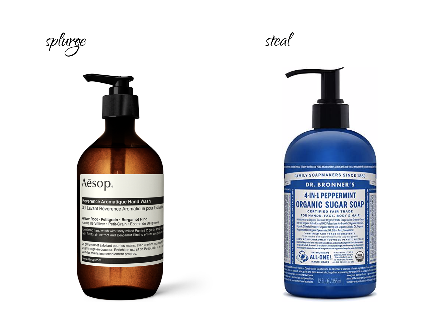 LEFT:  Aesop Reverence Aromatique Hand Wash $39 . | RIGHT:  Dr. Bronner's Organic Peppermint Sugar Soap $13.49 .