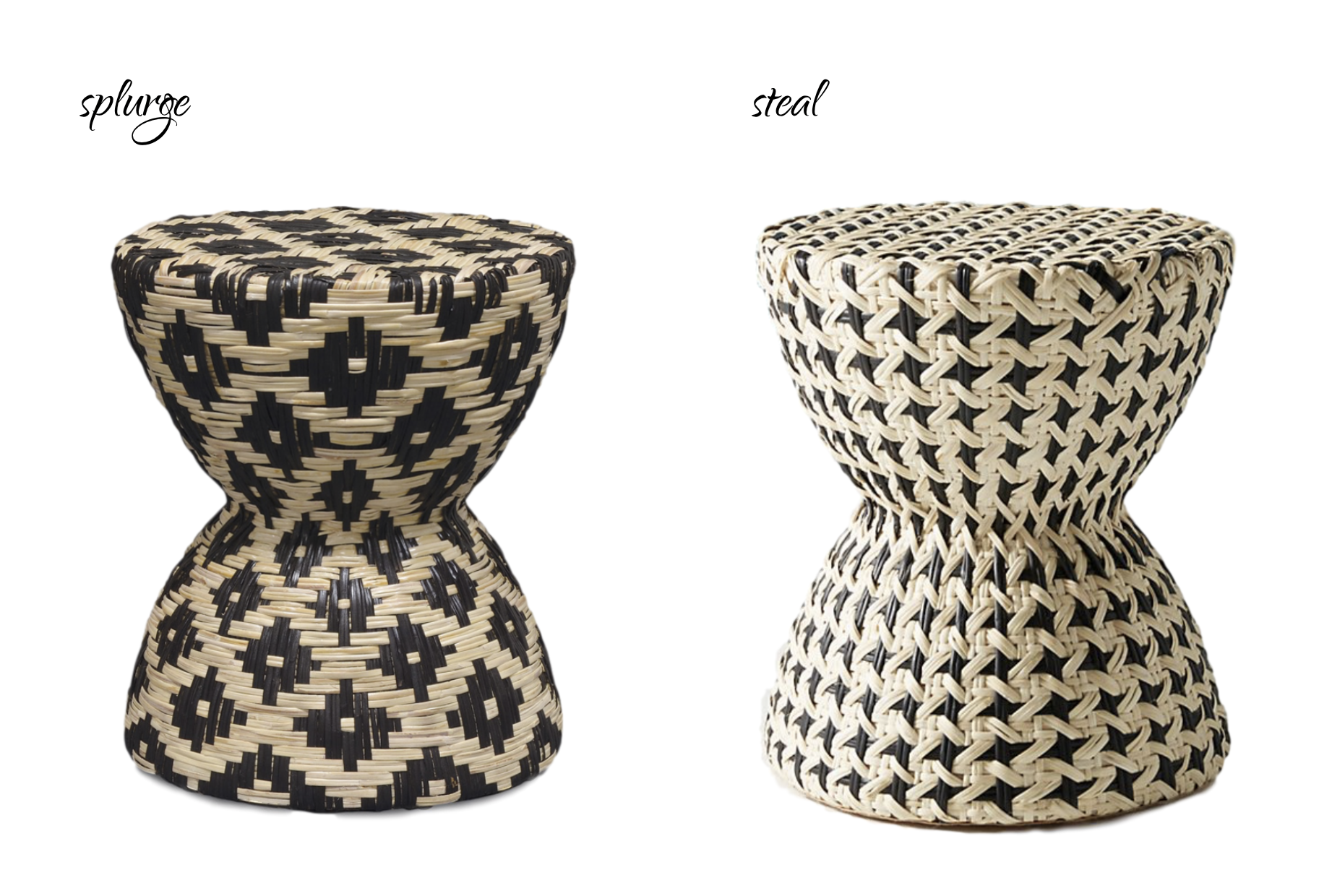 LEFT:  Candelabra Palecek Woven Rattan Black & White Hourglass Stool/Table , $557.93 | RIGHT:  Anthropologie Bryce Side Table , $199.95