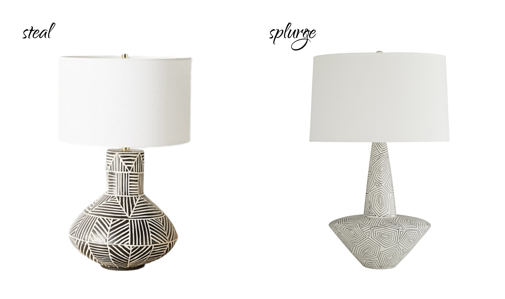 STEAL:  Anthropologie Anna Westerlund Table Lamp , $168. | SPLURGE:  Arteriors Toronto Lamp , $625.