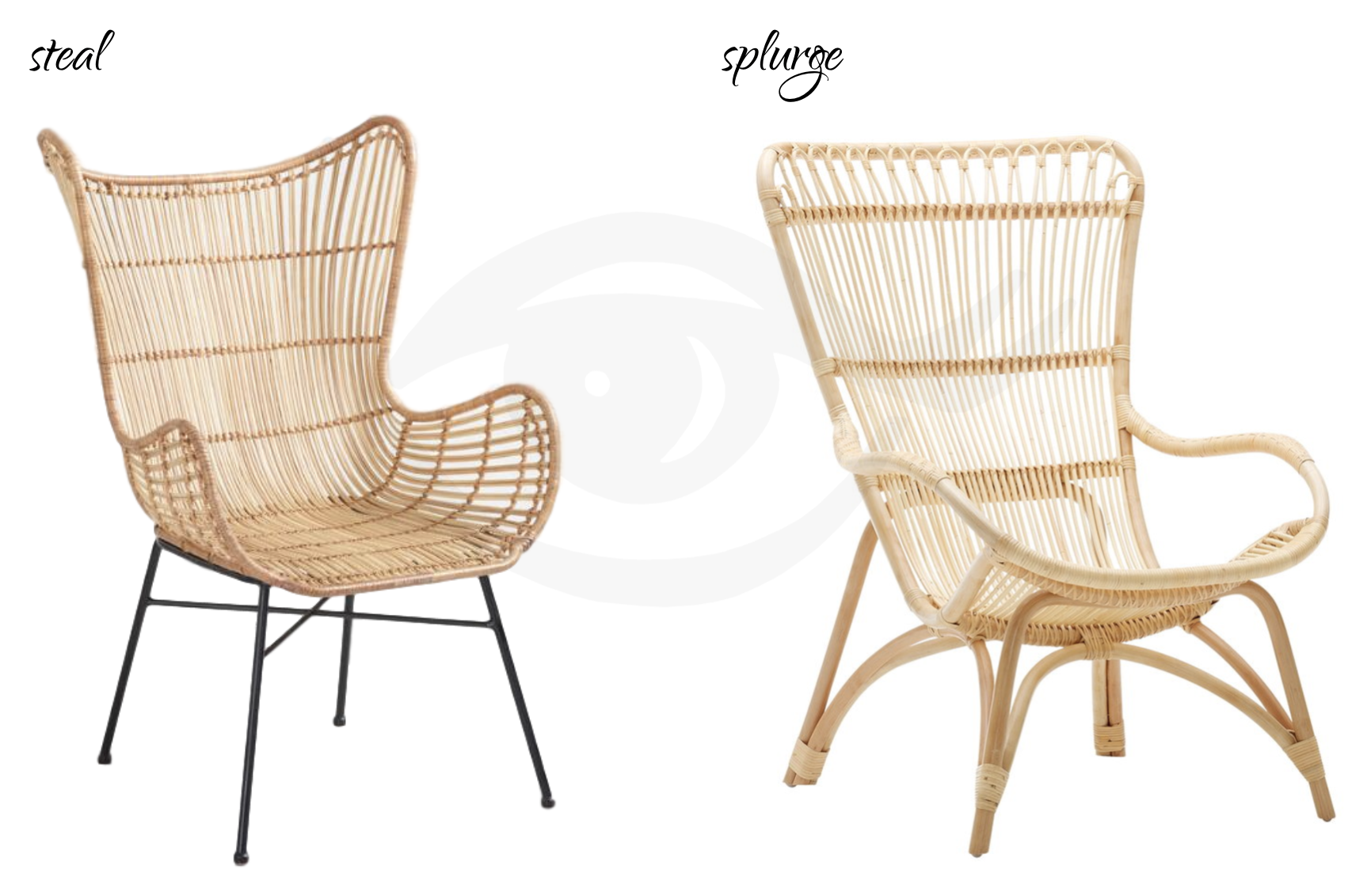 STEAL:  World Market Natural Rattan Wingback Chair,  $269.99. | SPLURGE:  Finnish Design Shop Sika-Design's Monet Chair , $506.