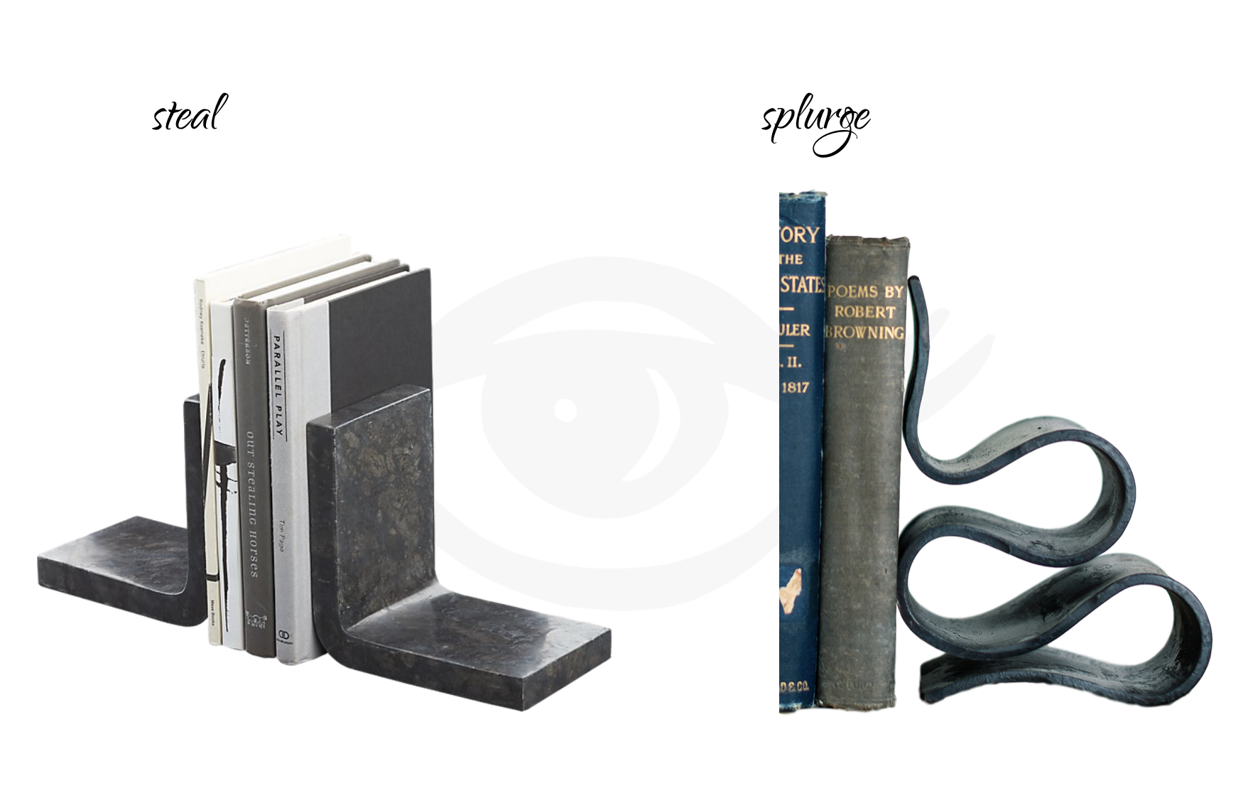 STEAL:  CB2 Swoop Black Marble Bookends Set , $59.95. | SPLURGE:  Urban Forge Forged Book Ends Set , $249.