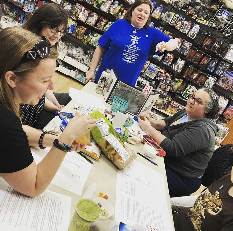 Our most recent ELS Day, Try an RPG Day, featuring GM Lady Diceacorn, and players Smalerie, Meepline's cousin, and 2 of our regular ELS attendees!