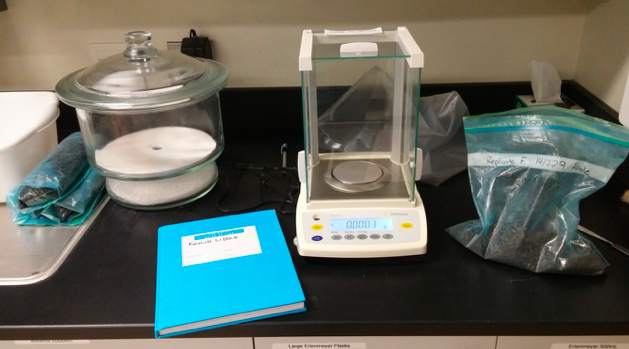 Weighing of a soil subsample for fumigation in the laboratory at Brandon University, Oct. 11, 2016; photo by Kaylin Liddle.
