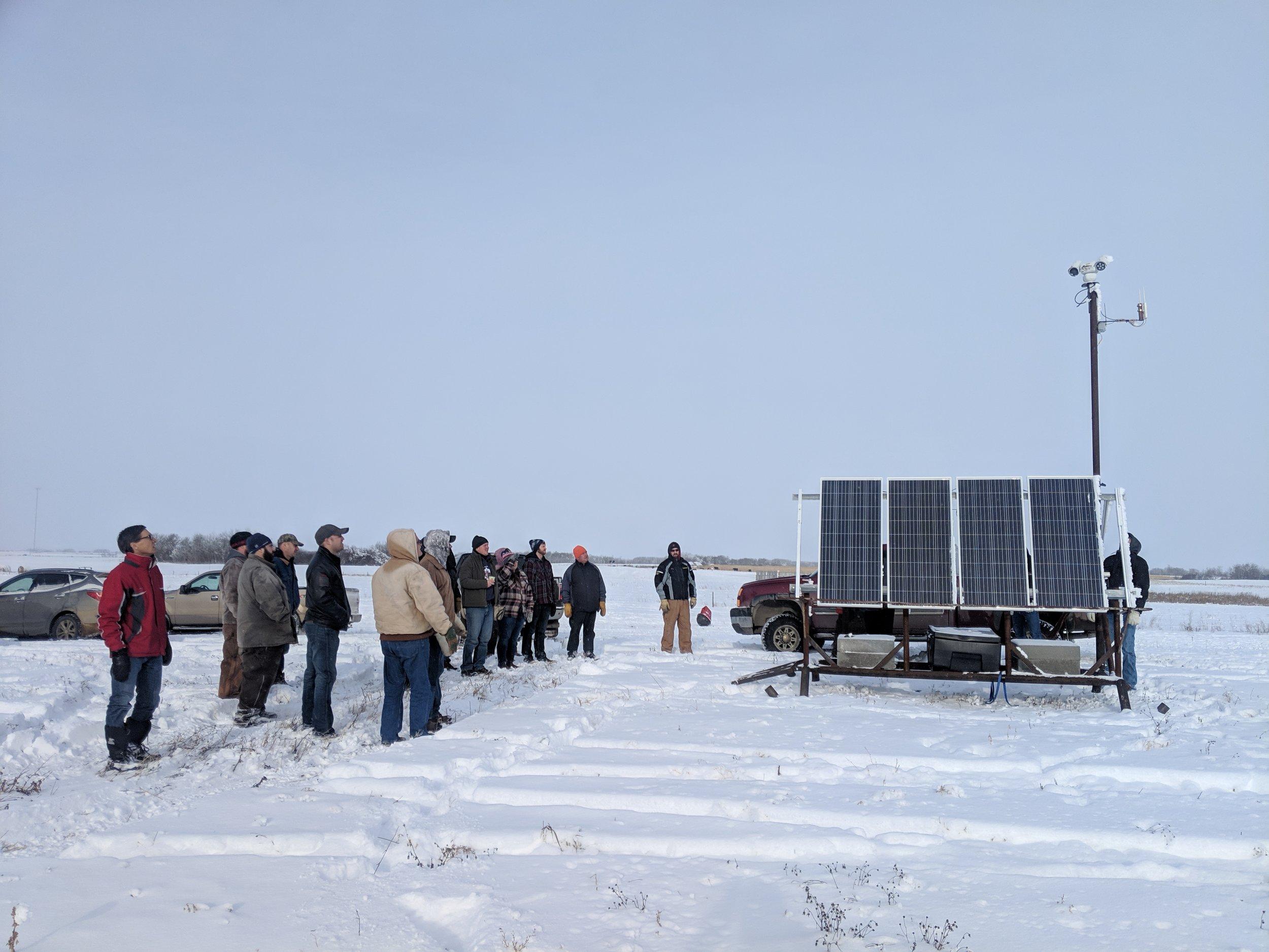 Winter Grazing Workshop tour participants viewing the MBFI pasture cam at the Brookdale Farm 2018