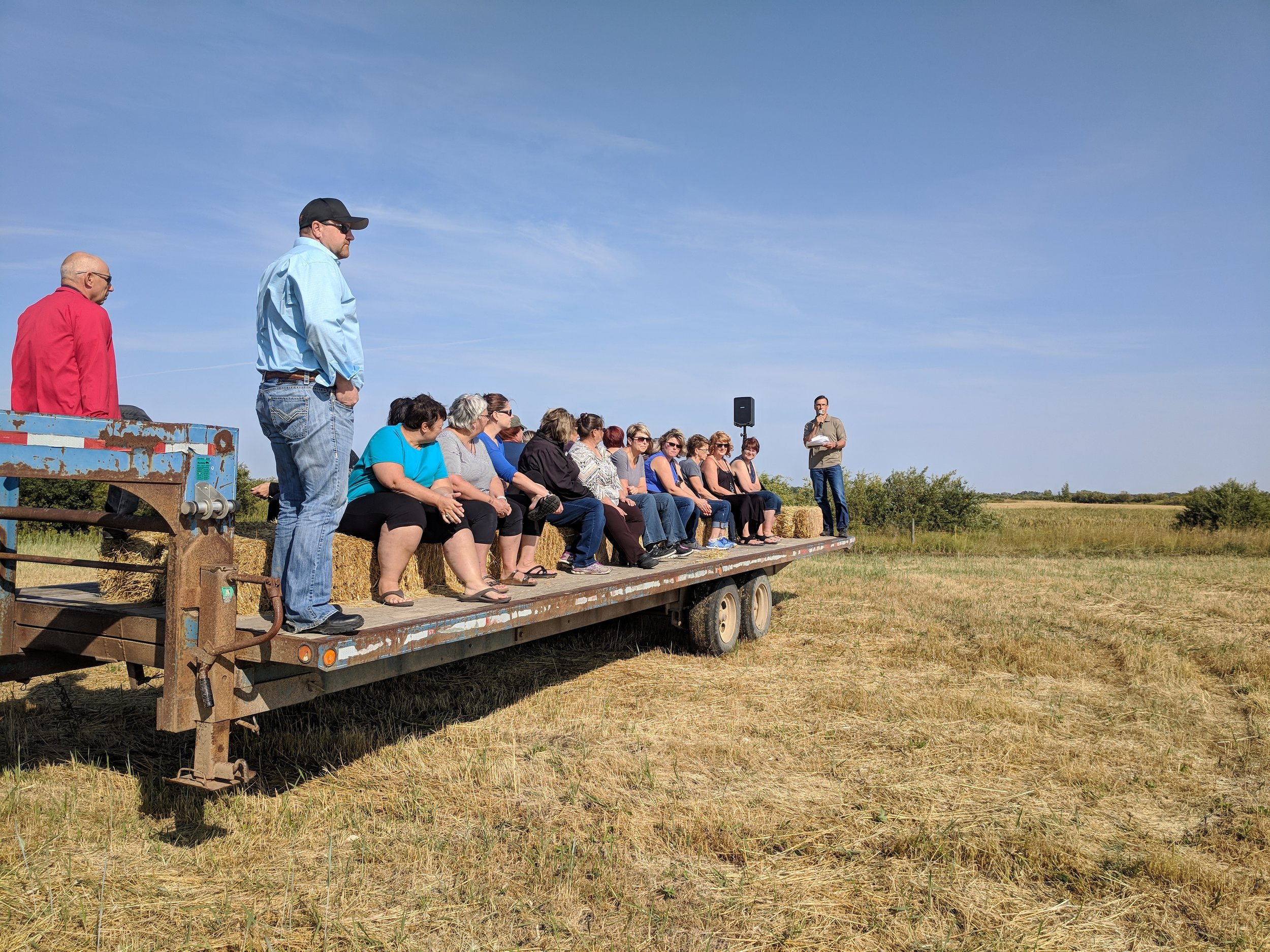 Shawn Cabak from MB Agriculture discussing winter grazing options at the MASC Tour at the Brookdale Farm 2018