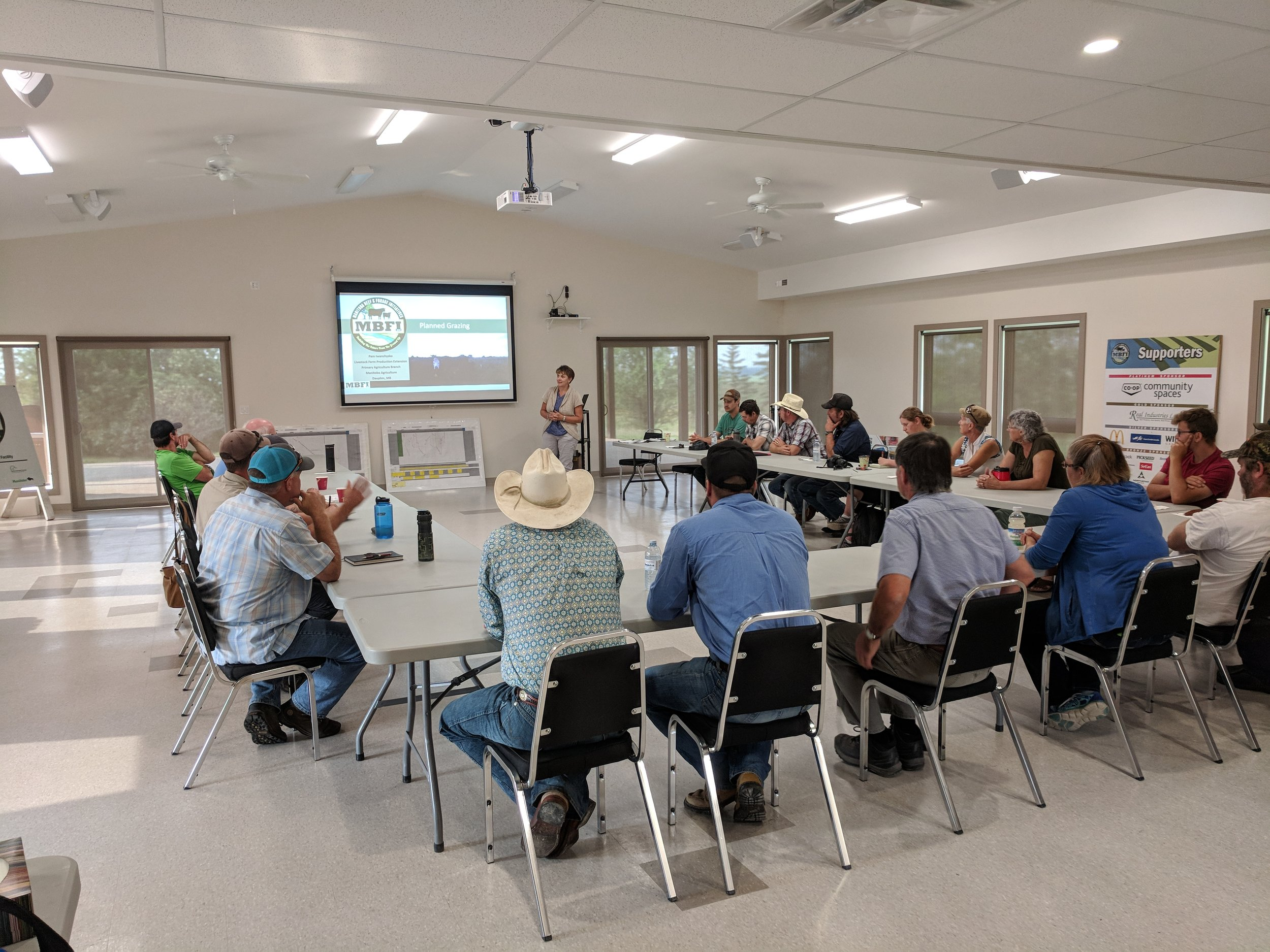 Pam Iwanchysko from MB Agriculture discussing her planned grazing project at the Grazing Workshop 2018