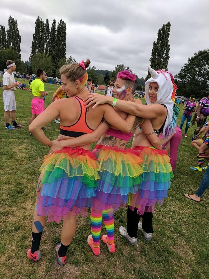 Bert Abbott, Ren Caldwell, and Kira Morin of  RenFitness Gym  and The Gay Agenda at Potlatch. (Photo Credit Bert Abbott)